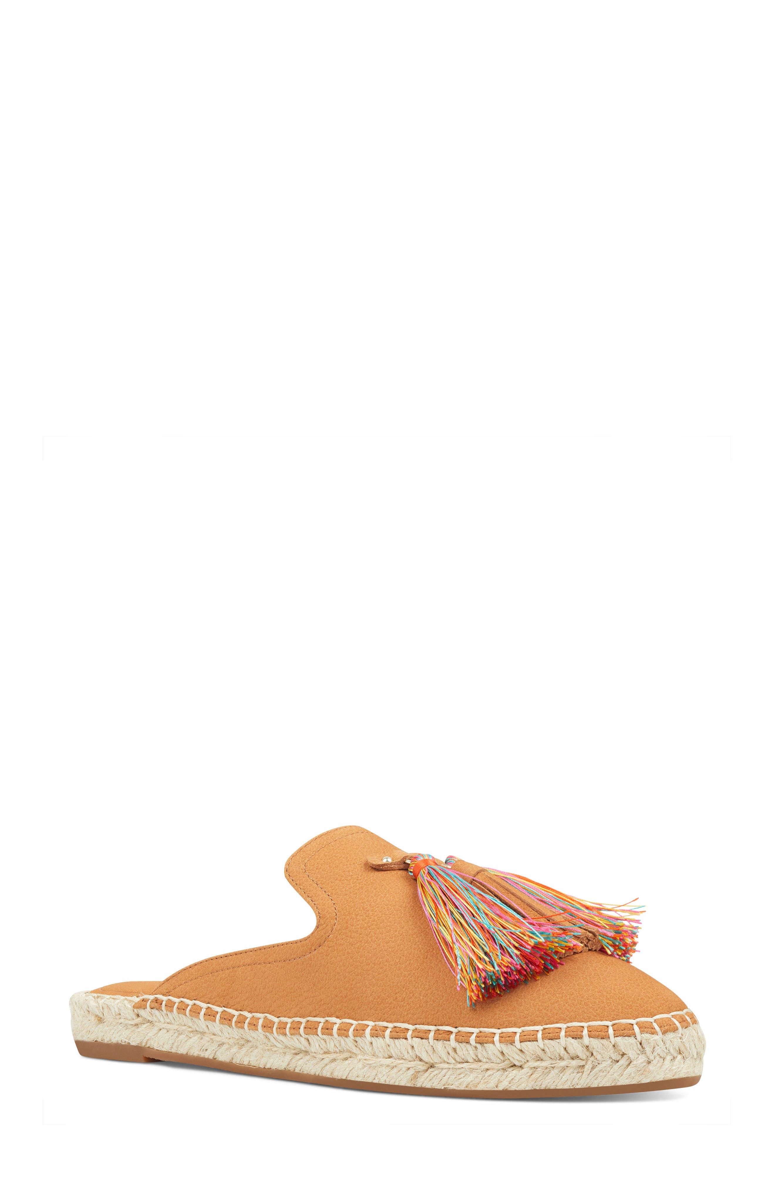 Val Tasseled Loafer Mule,                         Main,                         color, Dark Natural Suede