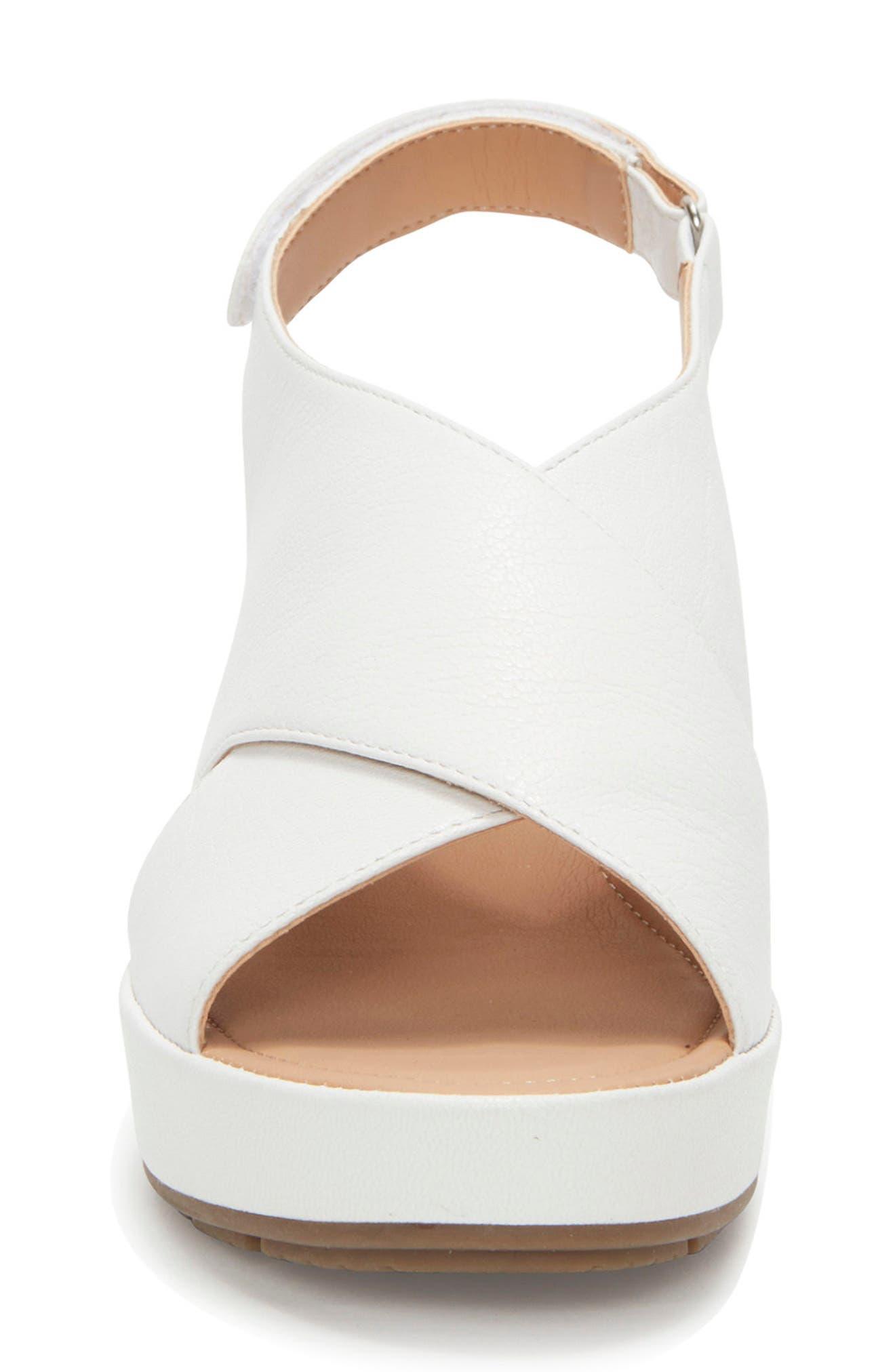 Arena Wedge Sandal,                             Alternate thumbnail 4, color,                             White Leather