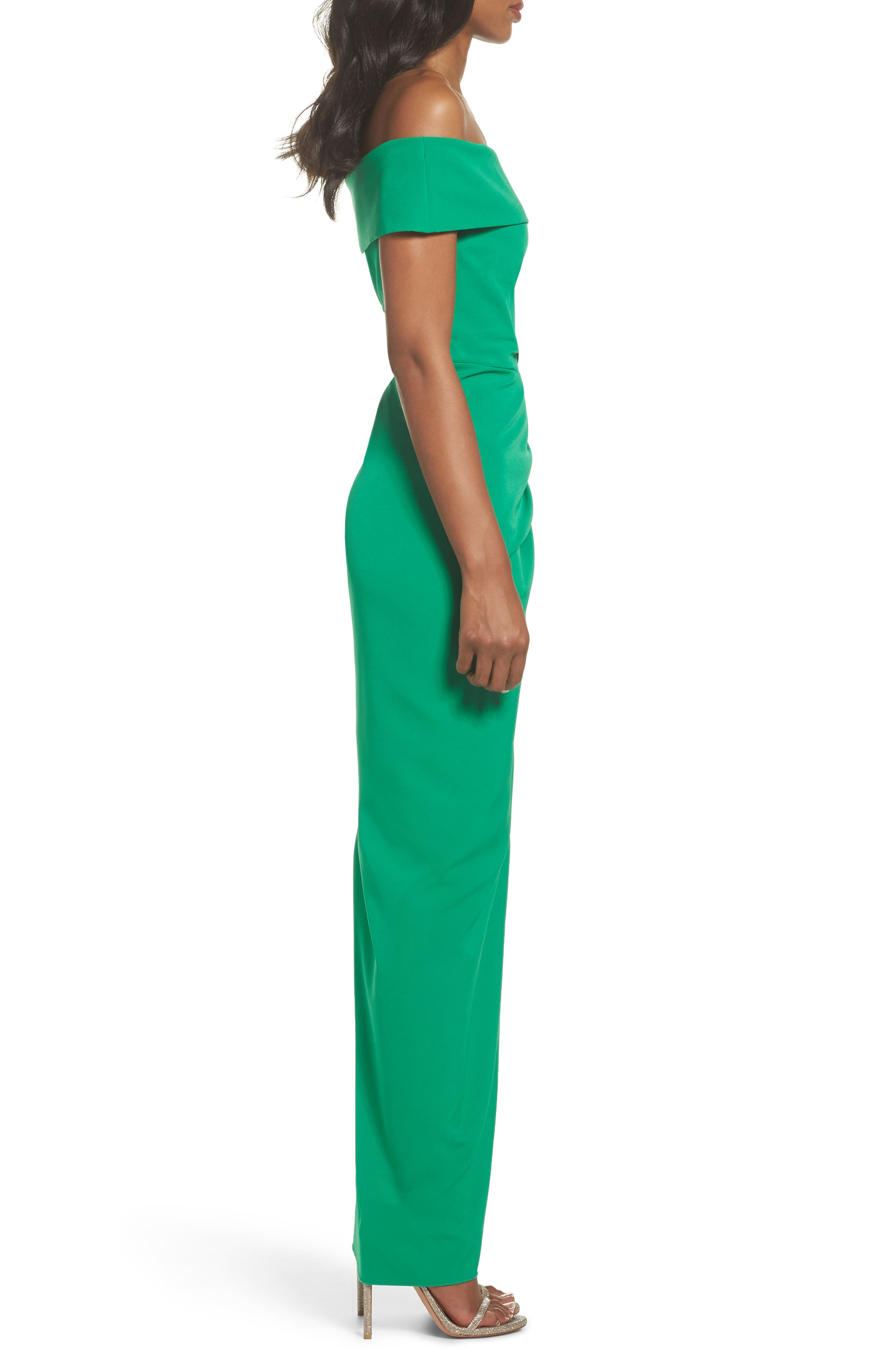 Off the Shoulder Crepe Gown,                             Alternate thumbnail 3, color,                             Green