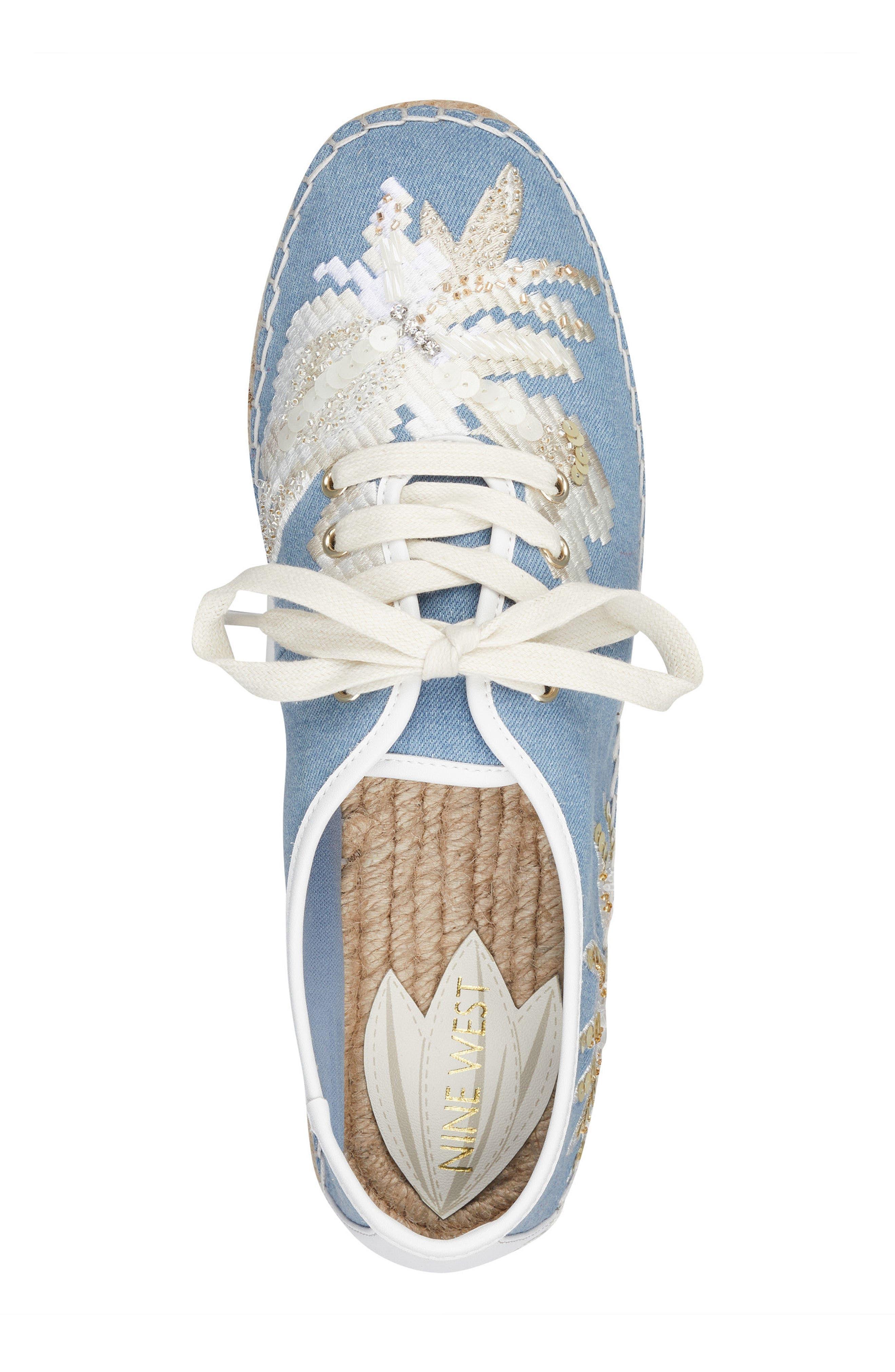Guinup Embellished Espadrille Sneaker,                             Alternate thumbnail 5, color,                             Light Blue/ White Denim