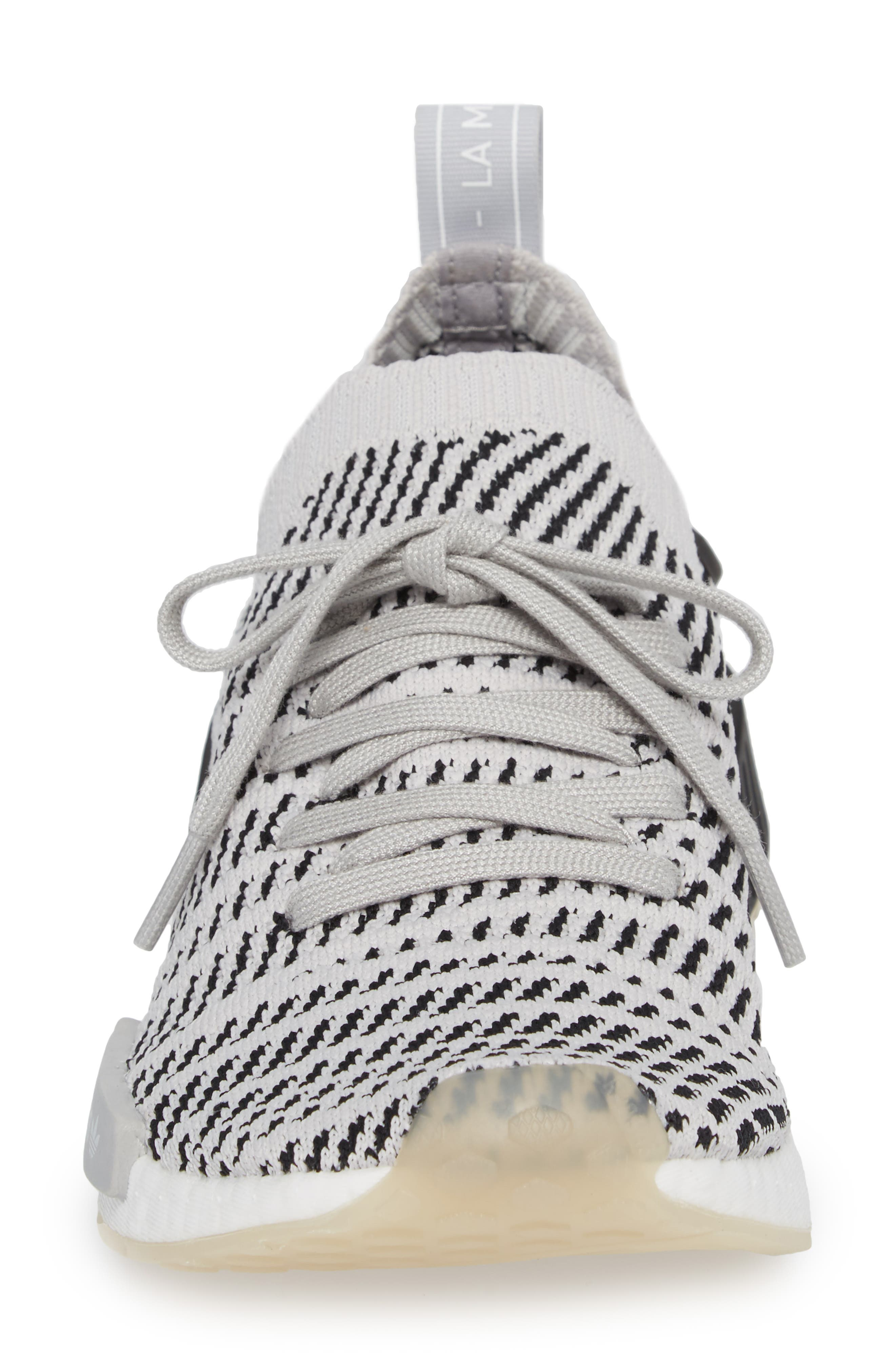 NMD R1 STLT Primeknit Sneaker,                             Alternate thumbnail 4, color,                             Grey/ Core Black