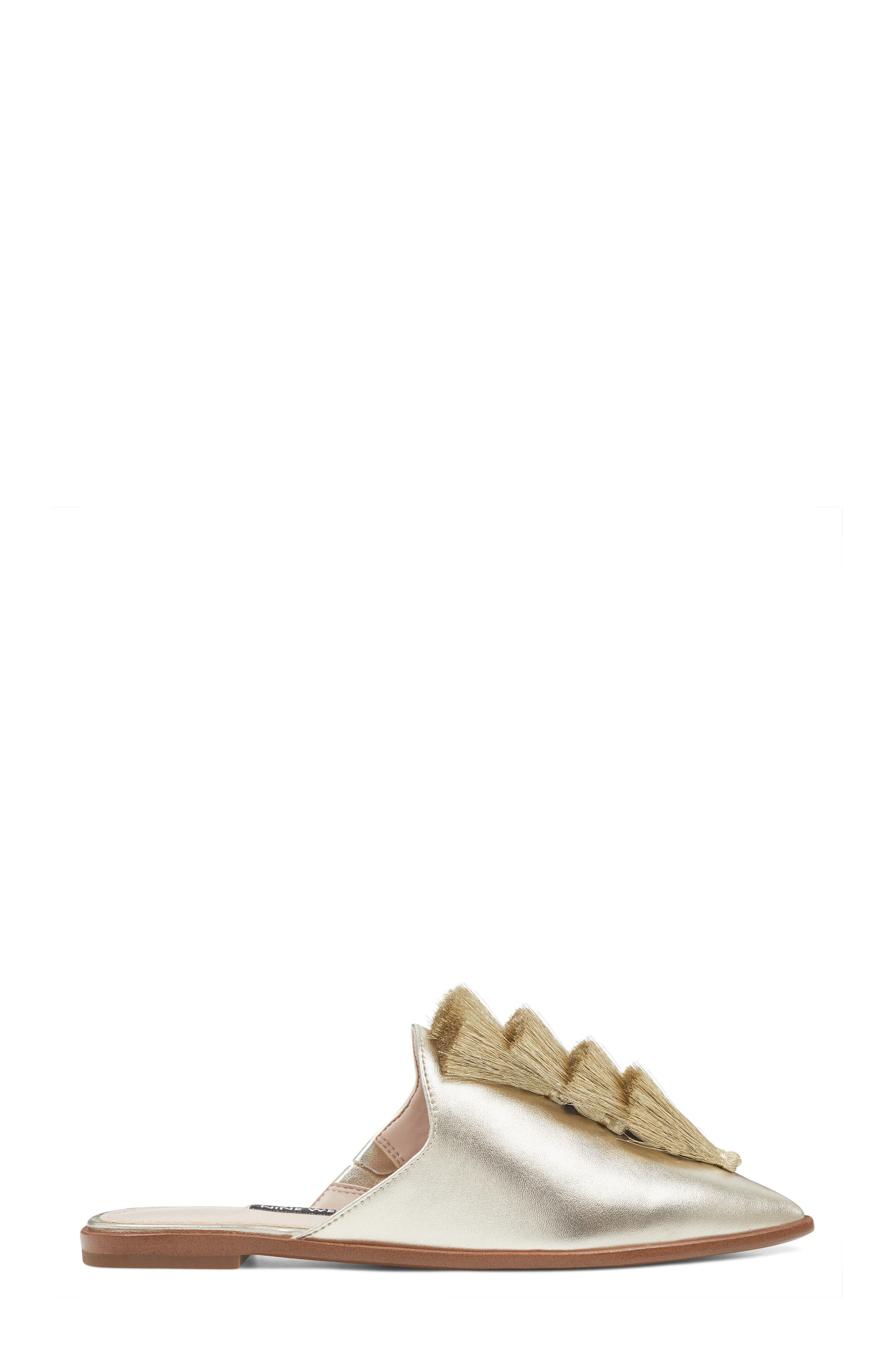Ollial Fringed Loafer Mule,                             Alternate thumbnail 3, color,                             Light Gold Leather