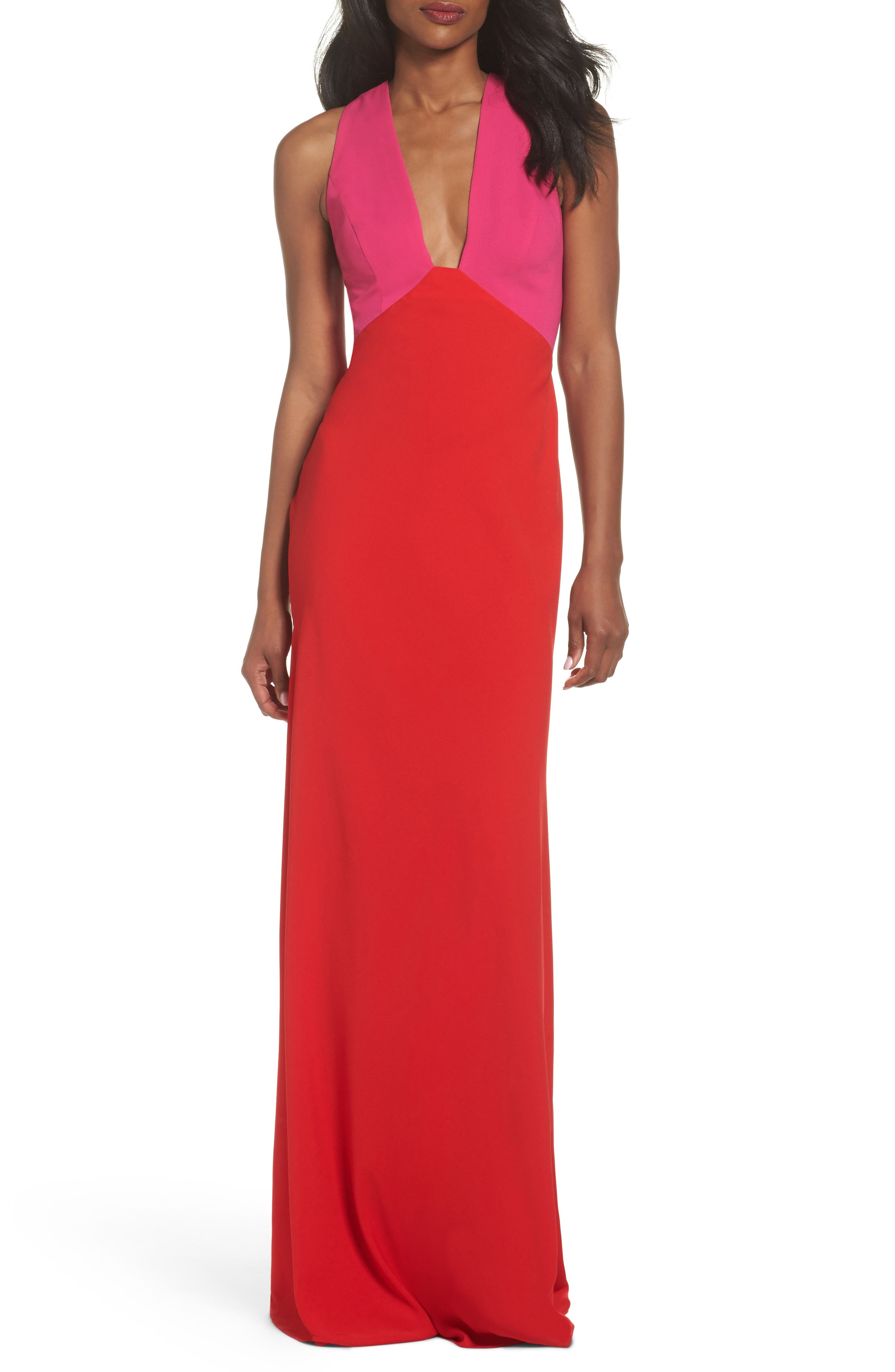 Colorblock Column Gown,                             Main thumbnail 1, color,                             Begonia Pink/ Poppy Red