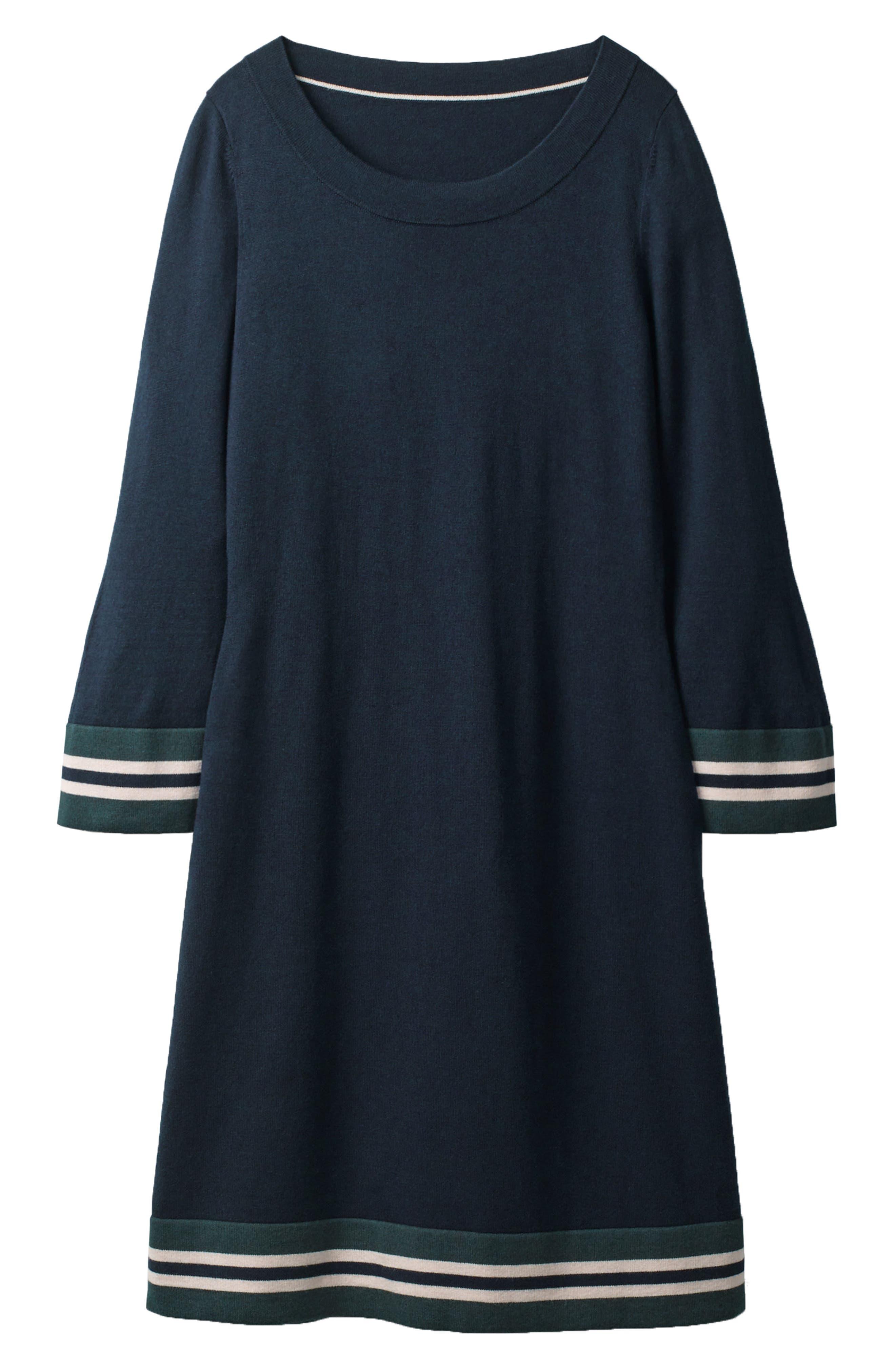 Border Stripe Shift Dress,                             Main thumbnail 1, color,                             Navy