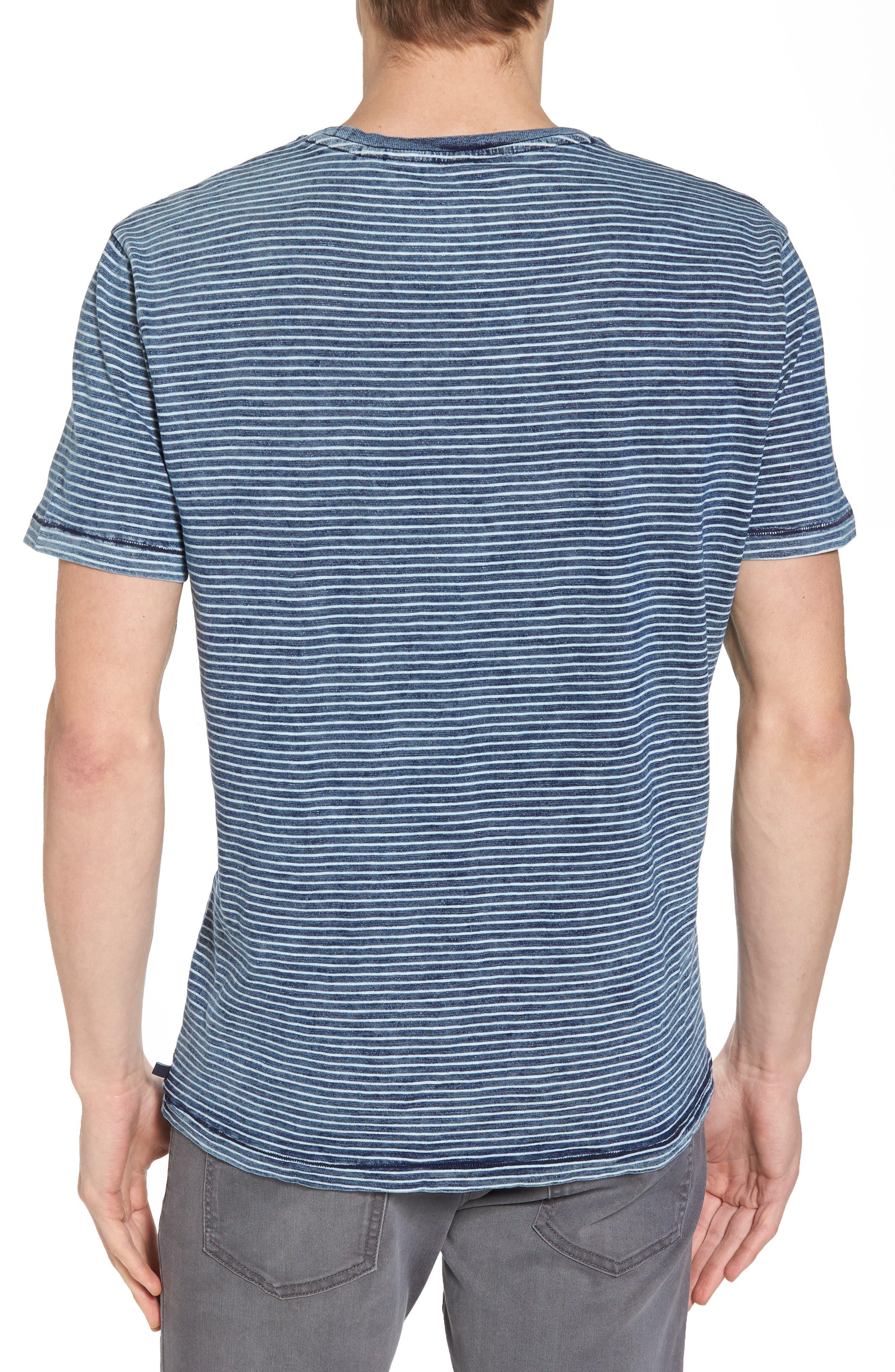 Julian Slim Fit Crewneck Shirt,                             Alternate thumbnail 2, color,                             Marbled Indigo/ White Stripe