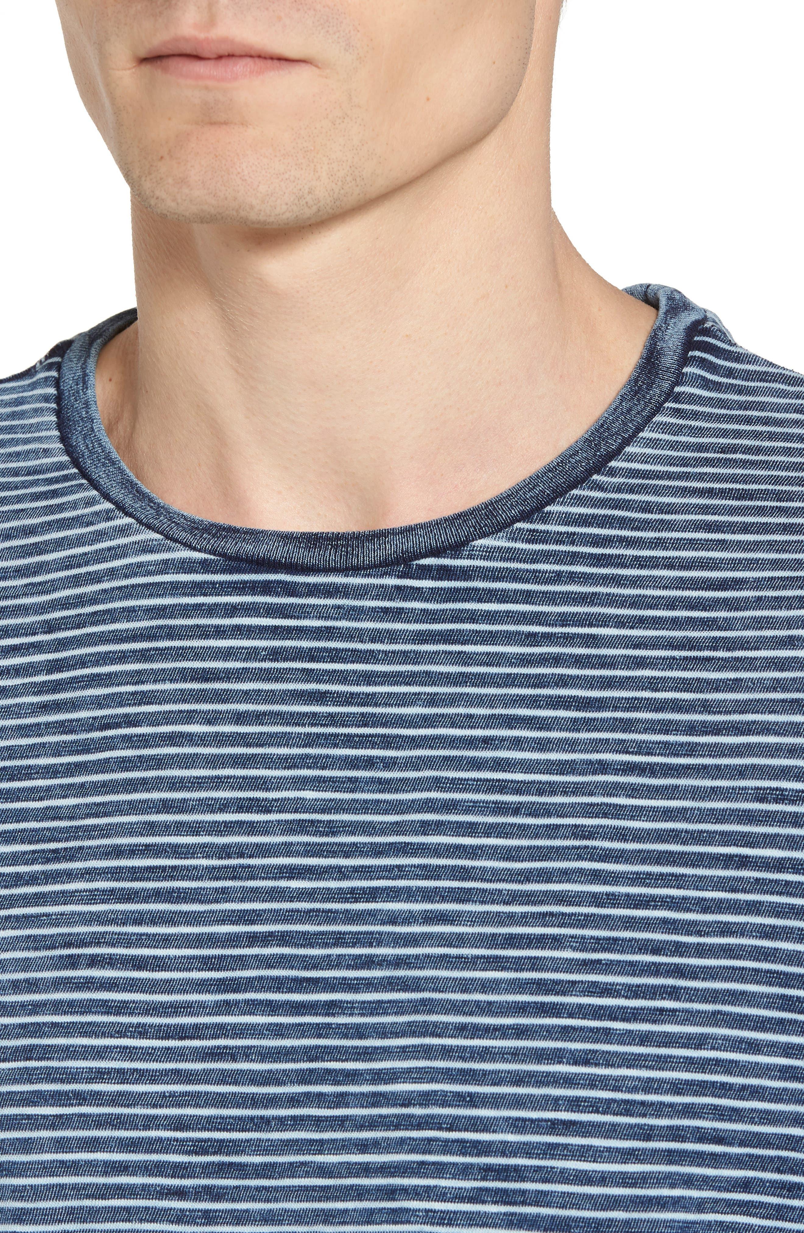 Julian Slim Fit Crewneck Shirt,                             Alternate thumbnail 4, color,                             Marbled Indigo/ White Stripe