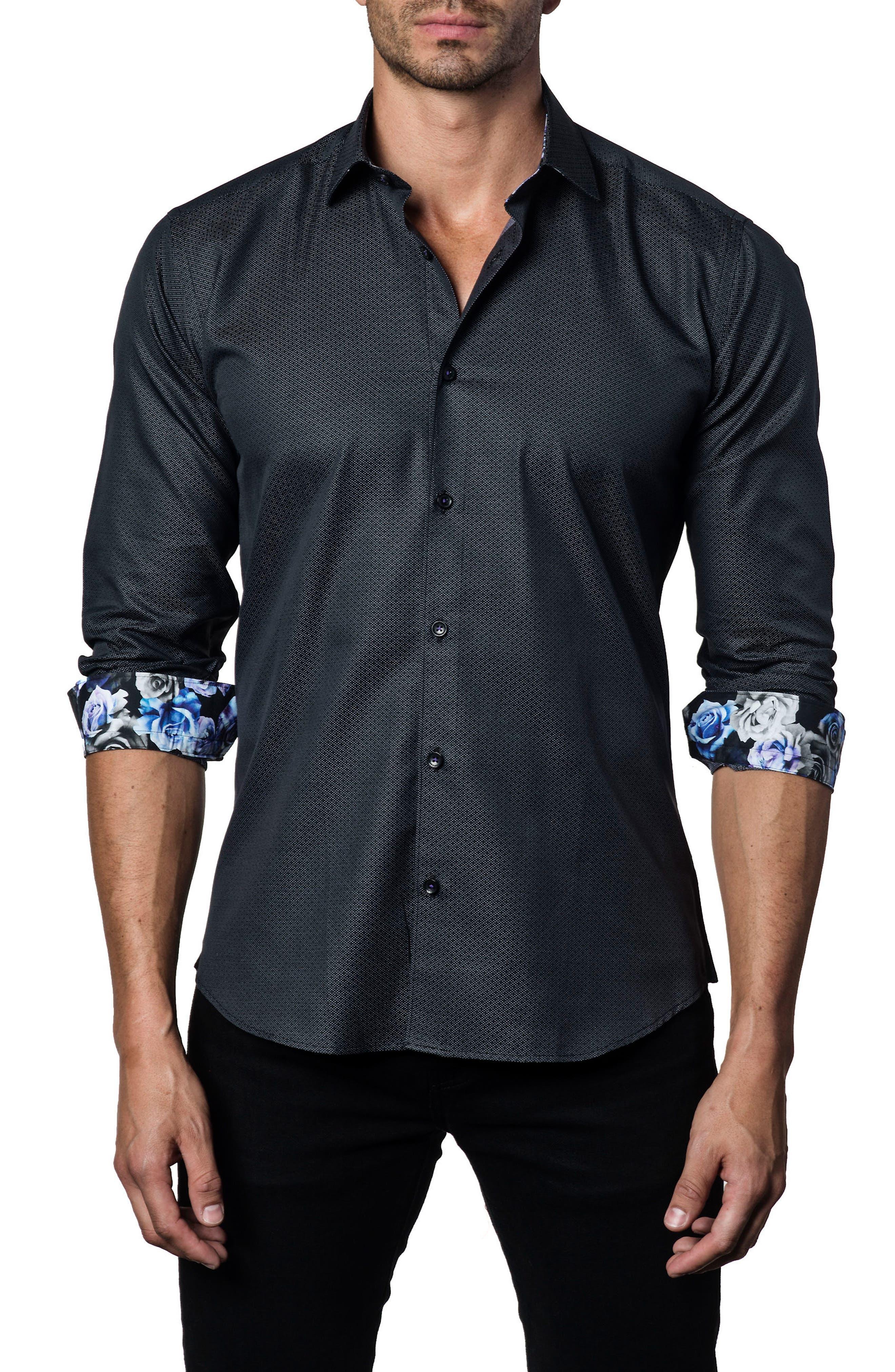 Trim Fit Woven Sport Shirt,                             Main thumbnail 1, color,                             Black