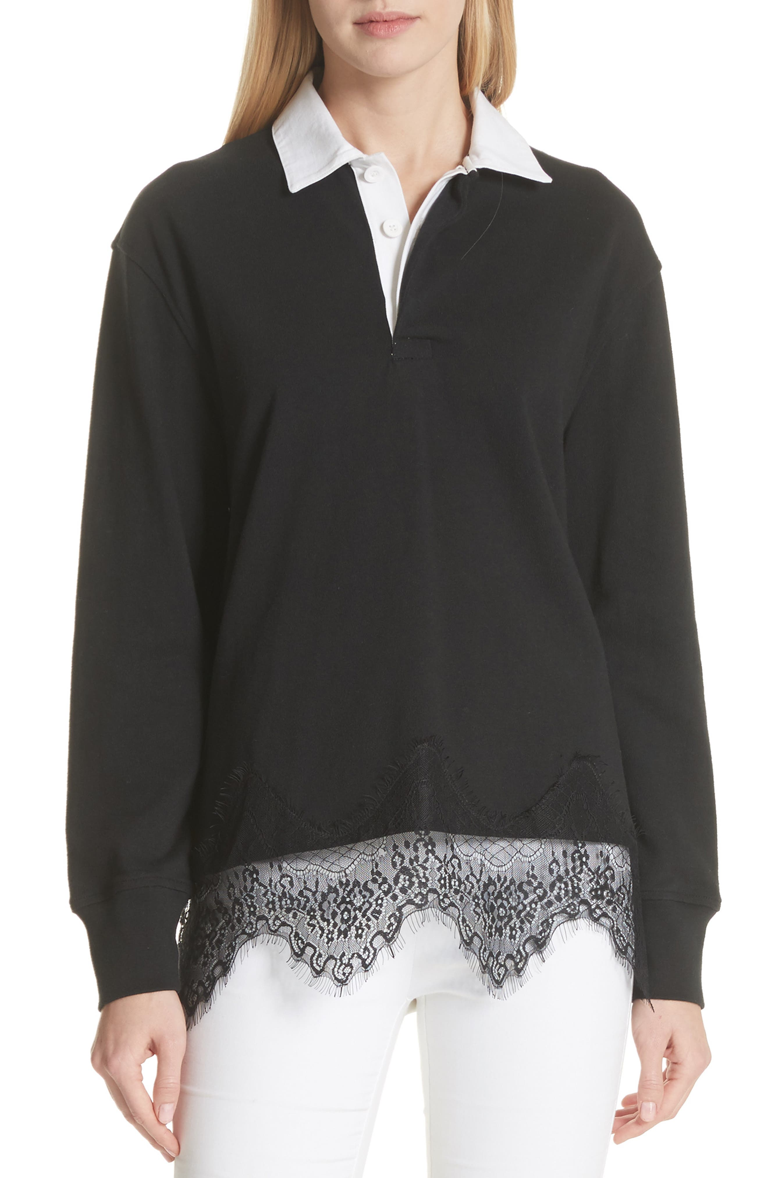 Lace Trim Rugby Sweater,                         Main,                         color, Black