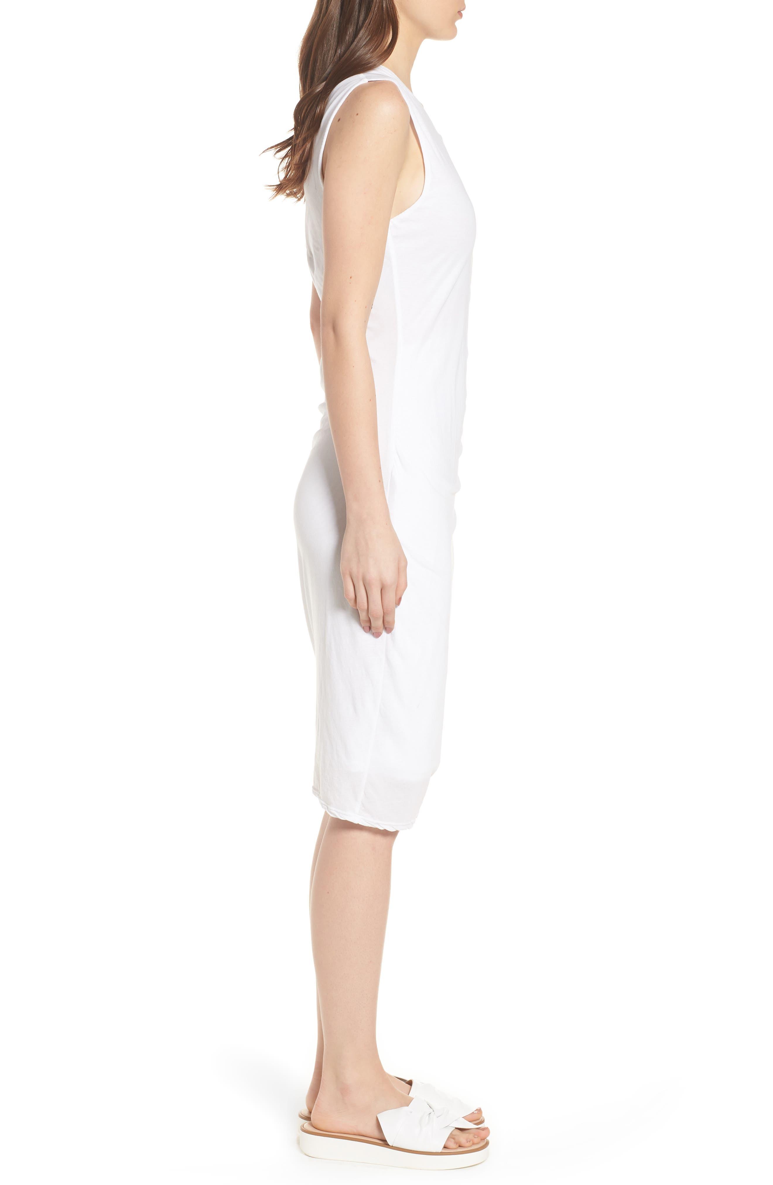 Shirred Midi Dress,                             Alternate thumbnail 3, color,                             White