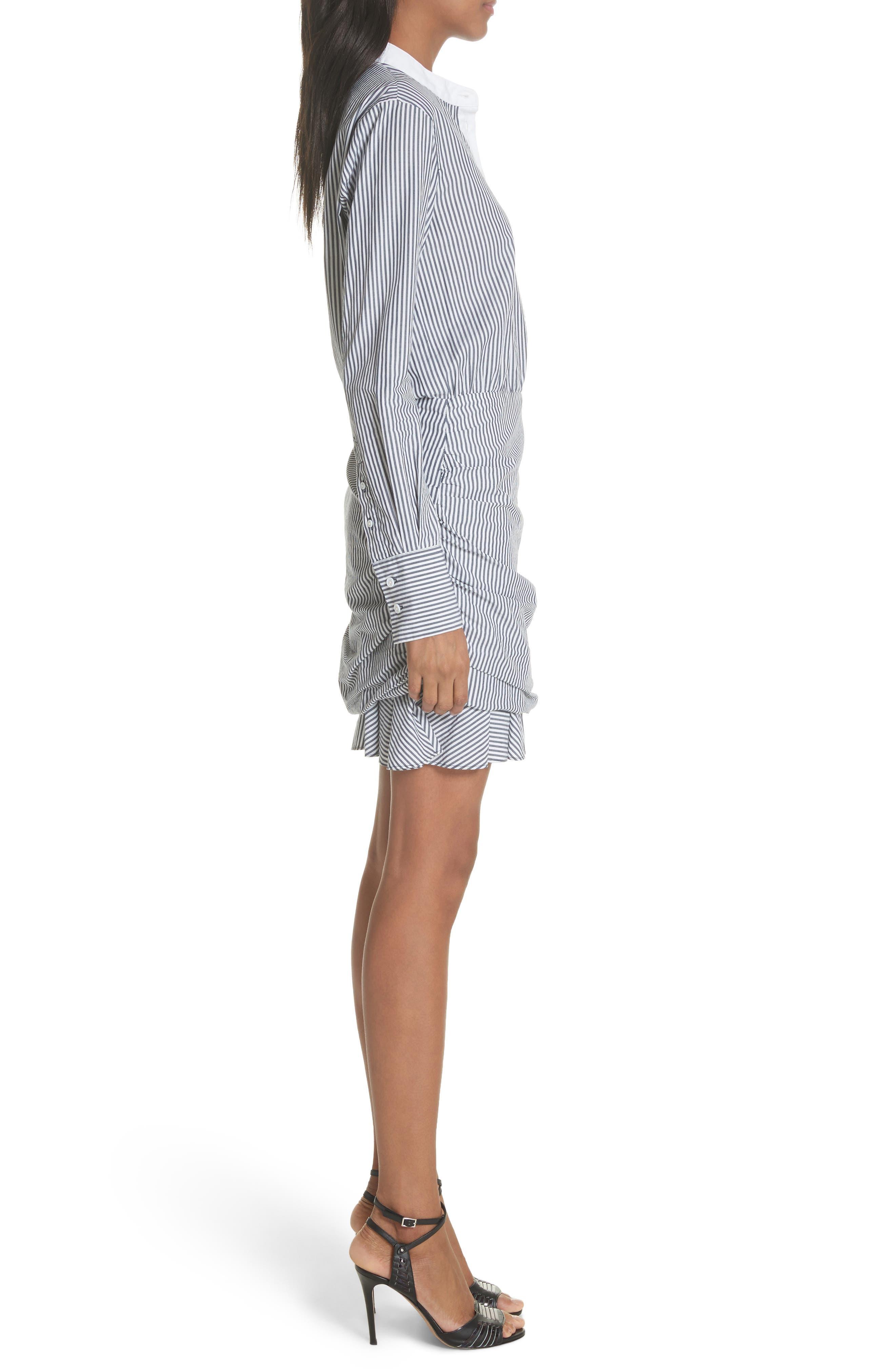 Everett Stripe Shirtdress,                             Alternate thumbnail 3, color,                             Black/ White Stripe