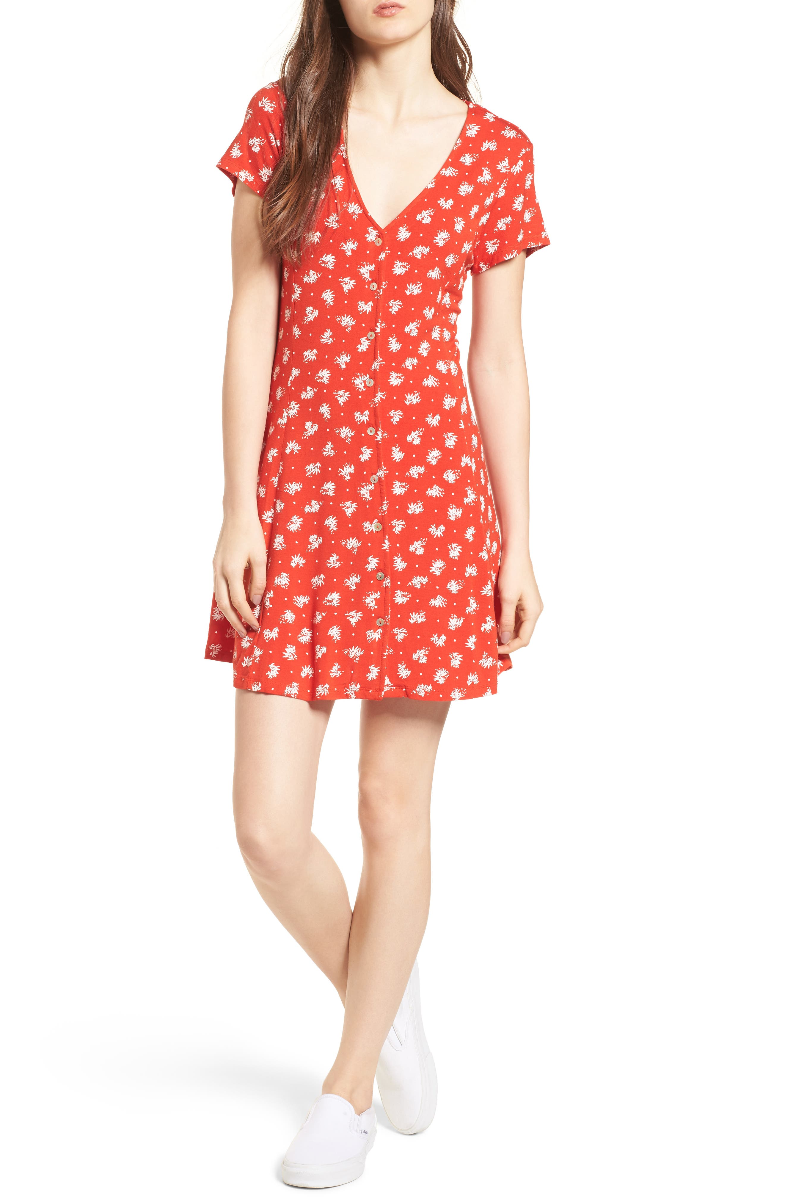 Ella Print Dress,                         Main,                         color, Fiery Red