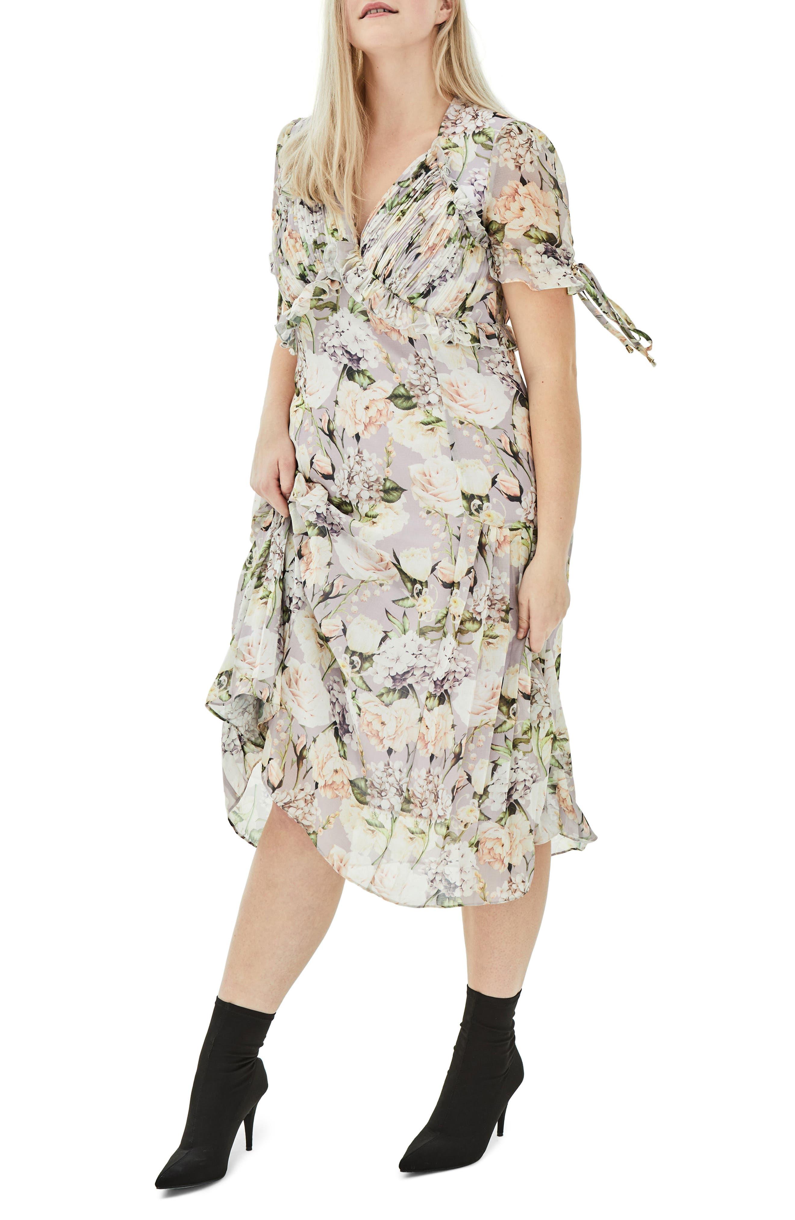 The Sweet Pea Floral Midi Dress,                             Main thumbnail 1, color,                             Purple