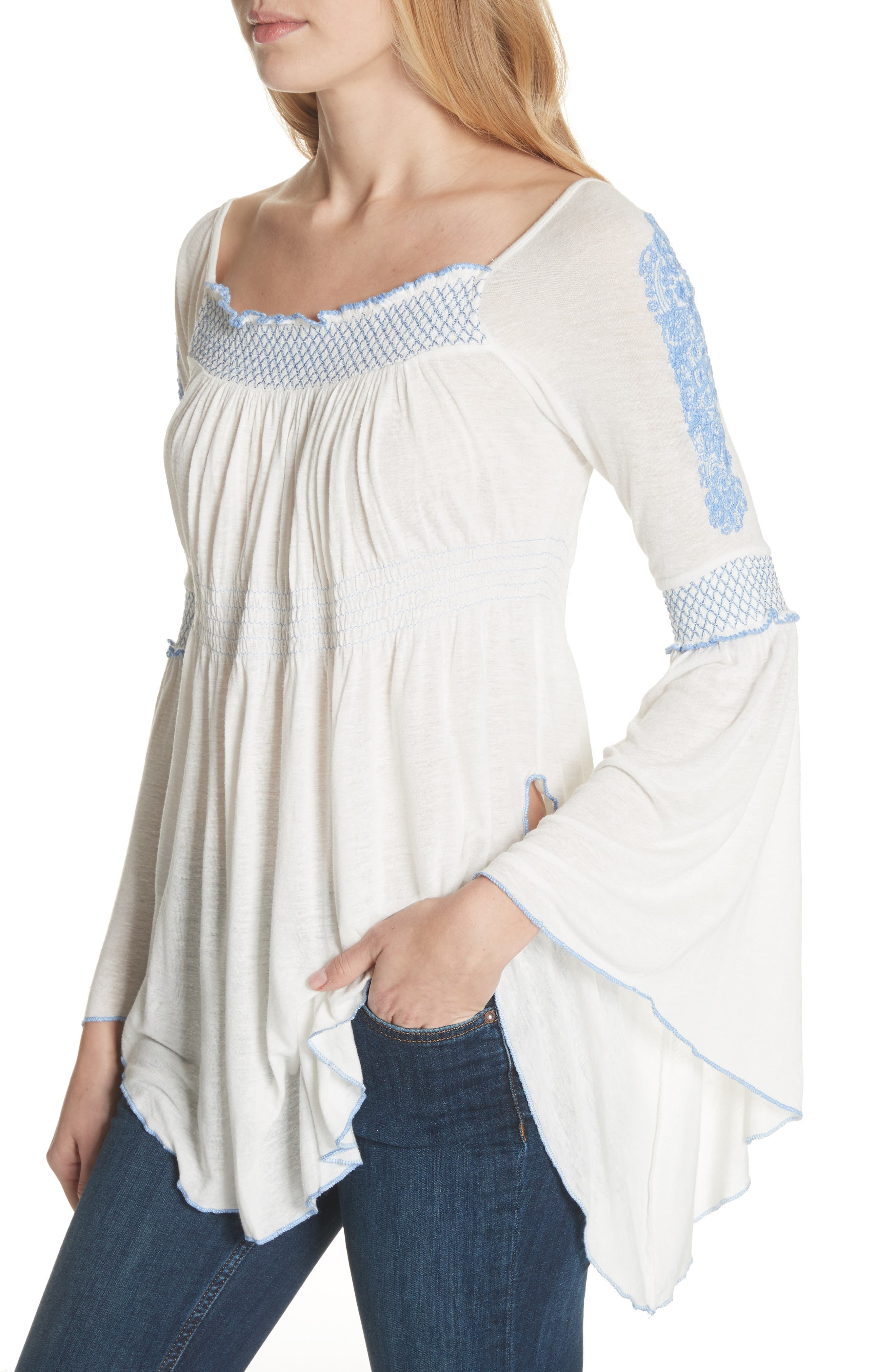 Valley Embroidered Bell Sleeve Top,                             Alternate thumbnail 4, color,                             Ivory