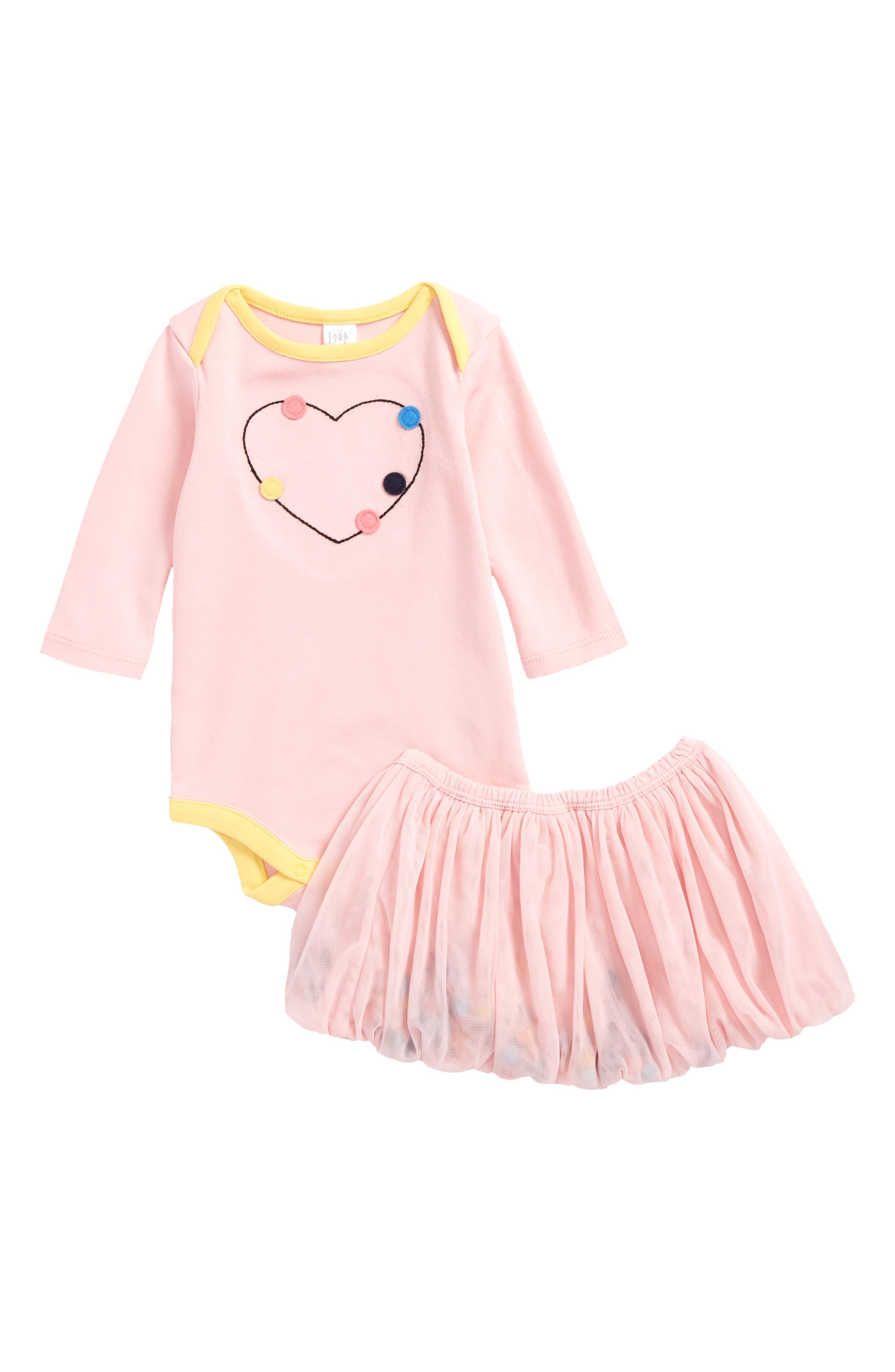 Bodysuit & Pompom Tutu Skirt Set,                         Main,                         color, Pink Coral Hearts