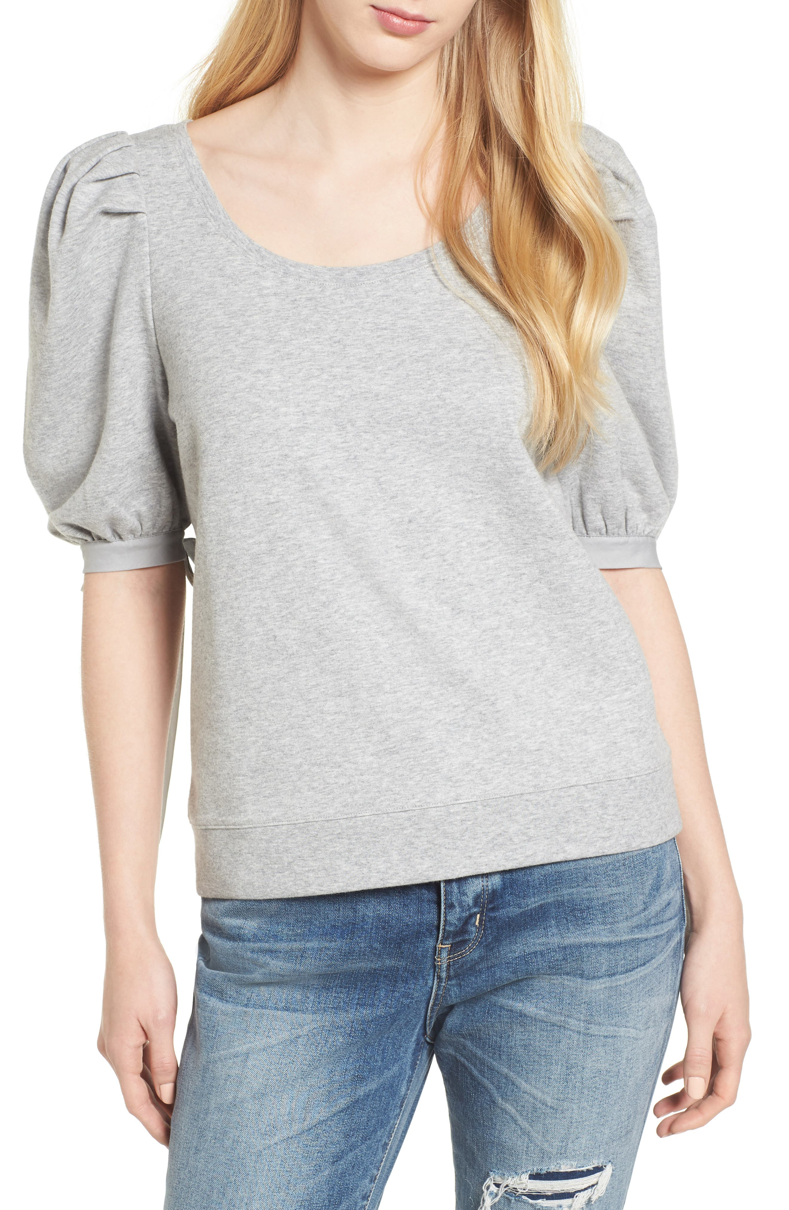 Puff Sleeve Top,                             Main thumbnail 1, color,                             Grey Heather