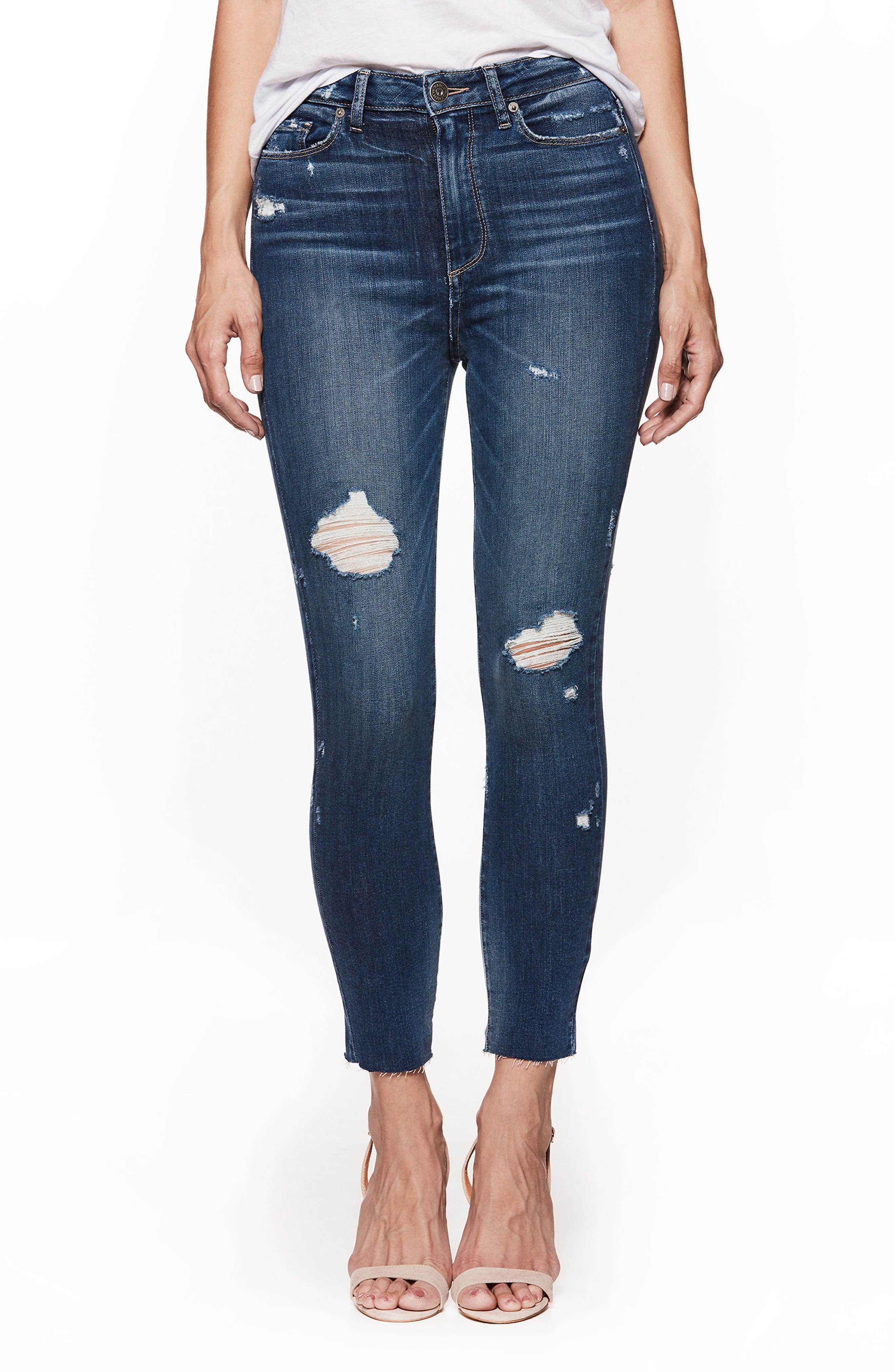Transcend Vintage - Margot High Waist Crop Skinny Jeans,                             Main thumbnail 1, color,                             Cliffs Edge Destructed