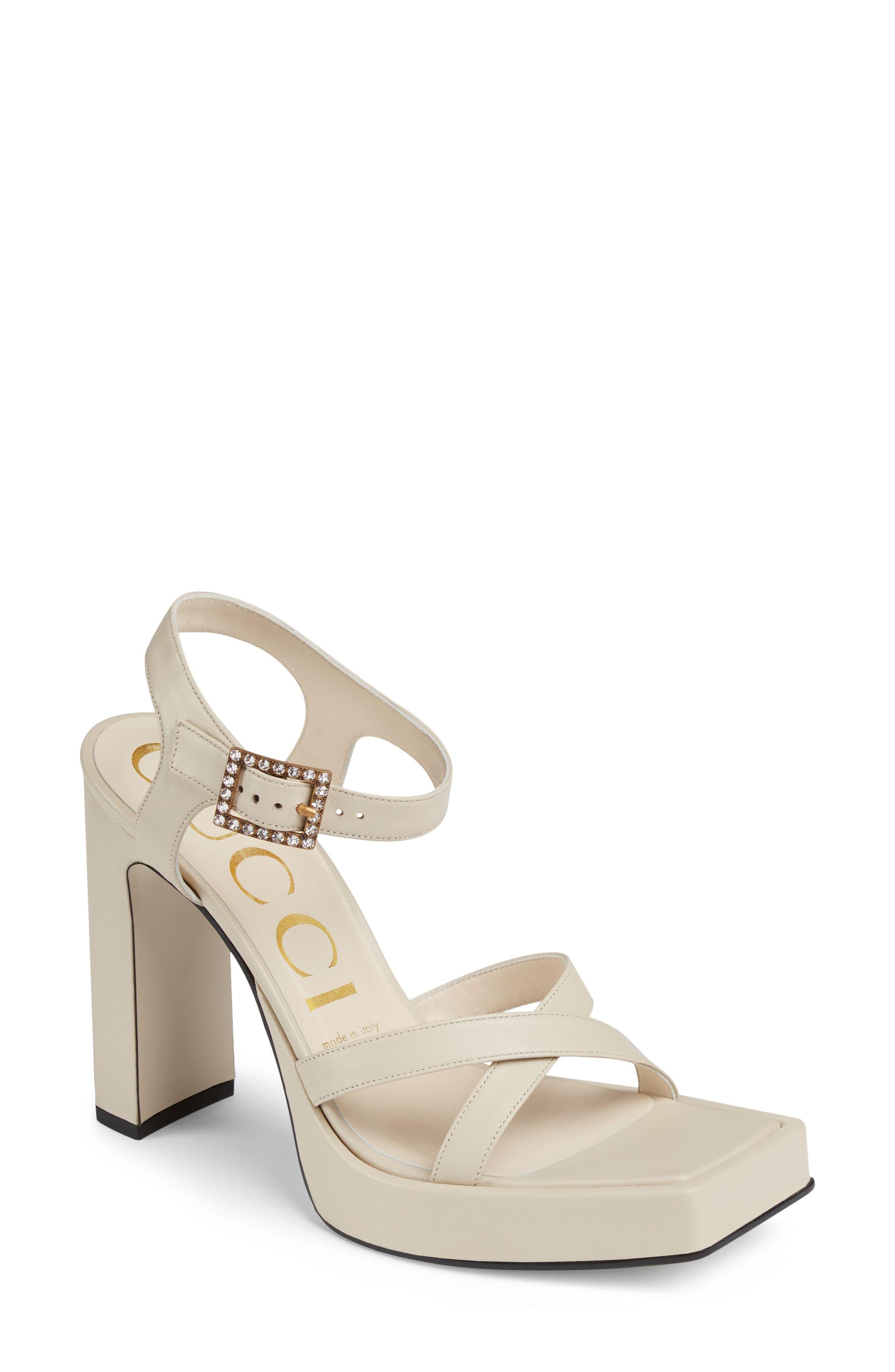 Costanze Platform Sandal,                             Main thumbnail 1, color,                             White
