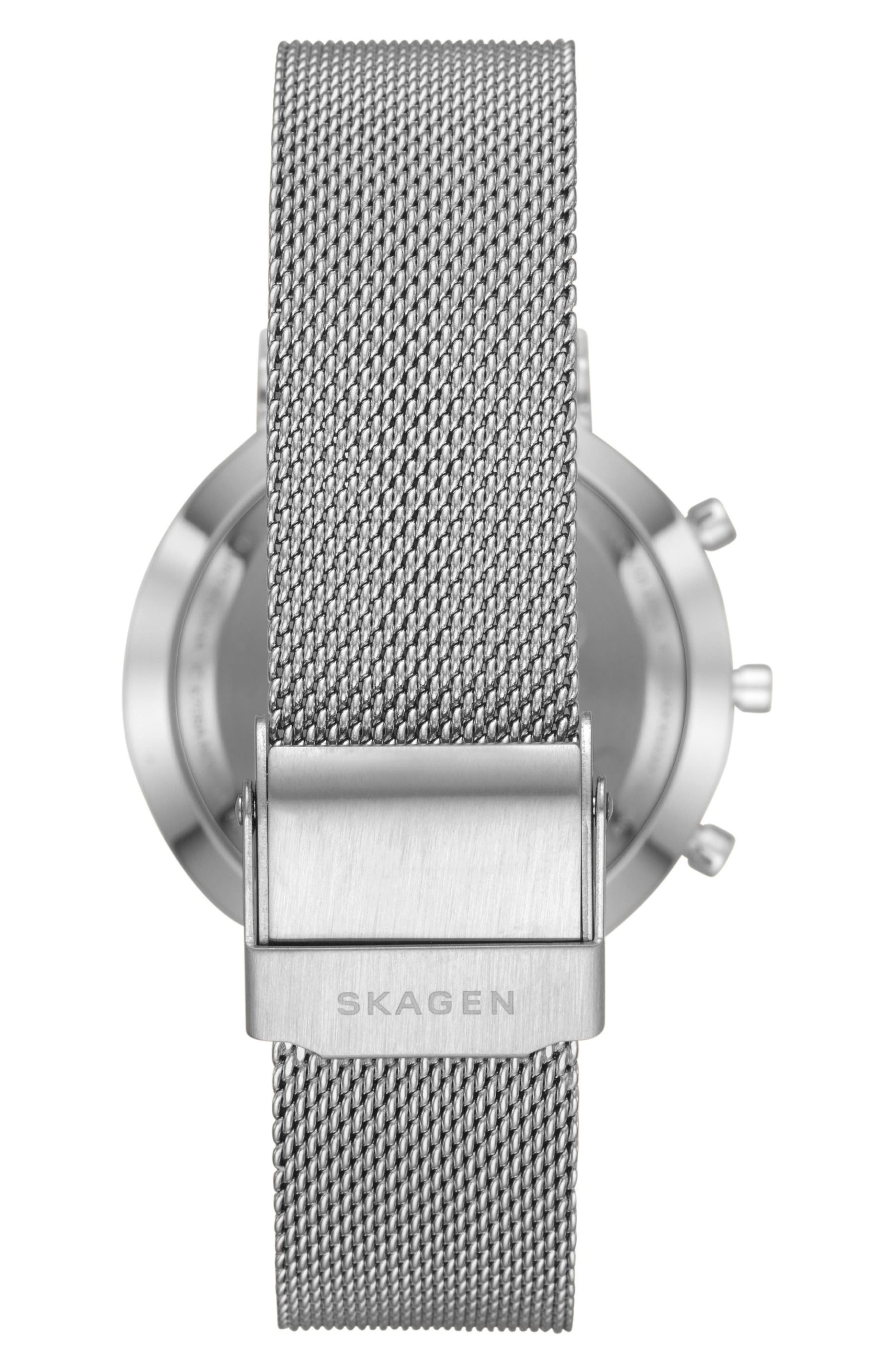 Hald Mesh Strap Hybrid Smart Watch, 34mm,                             Alternate thumbnail 3, color,                             Silver/ Grey/ Silver