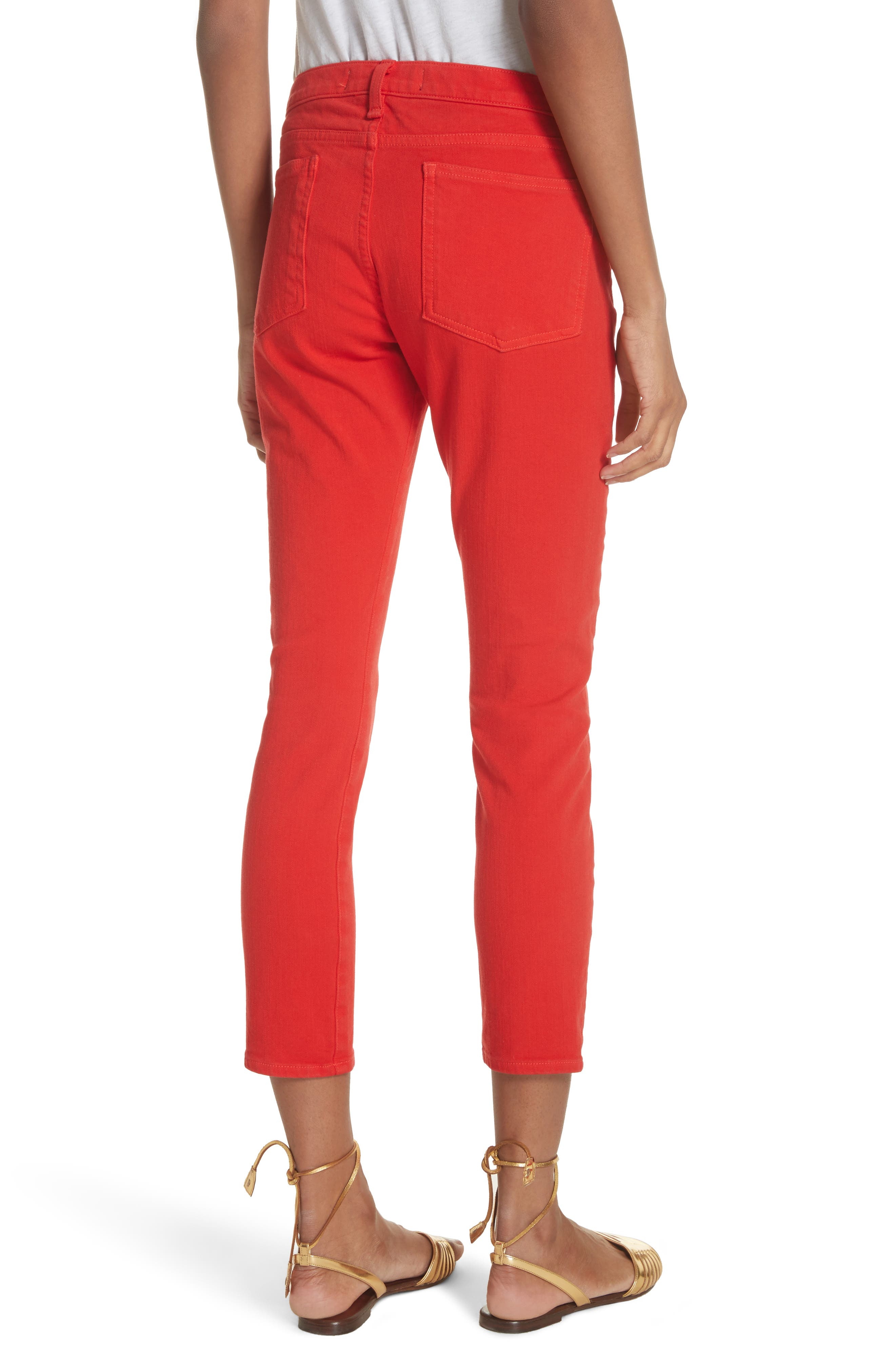 Brook Crop Skinny Jeans,                             Alternate thumbnail 2, color,                             Neon Red