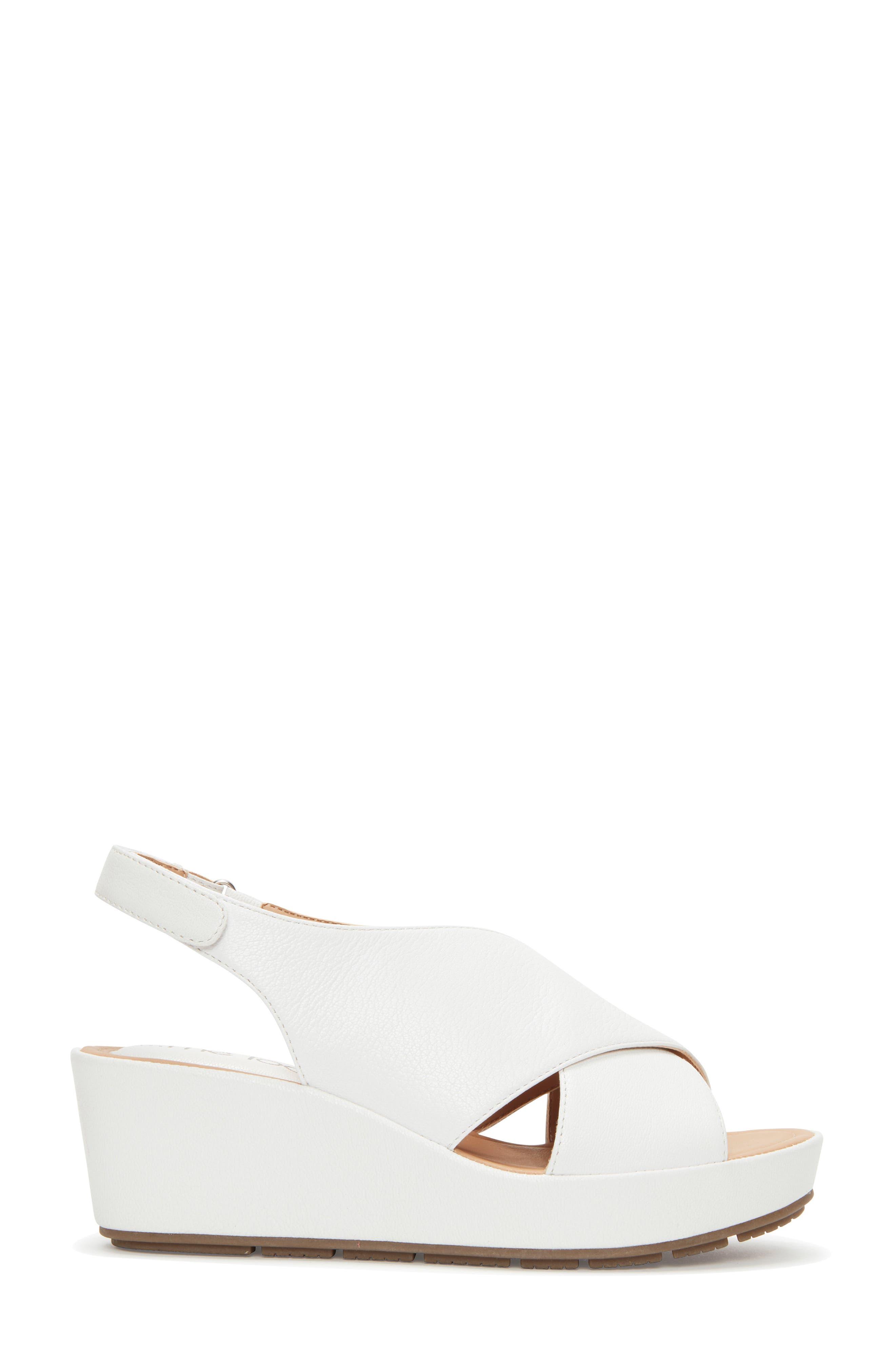 Arena Wedge Sandal,                             Alternate thumbnail 3, color,                             White Leather