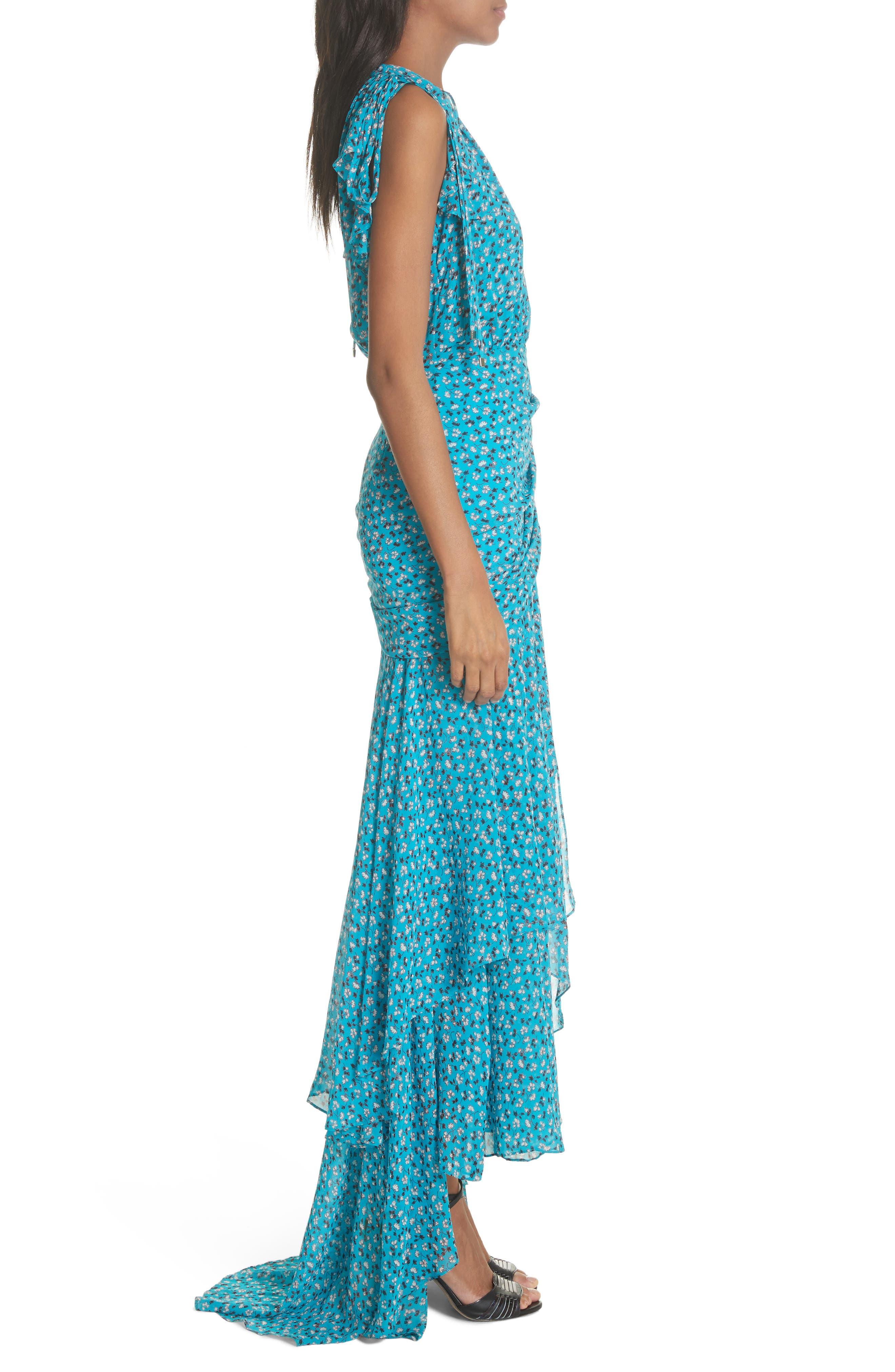 Samara Silk Dress,                             Alternate thumbnail 3, color,                             Blue