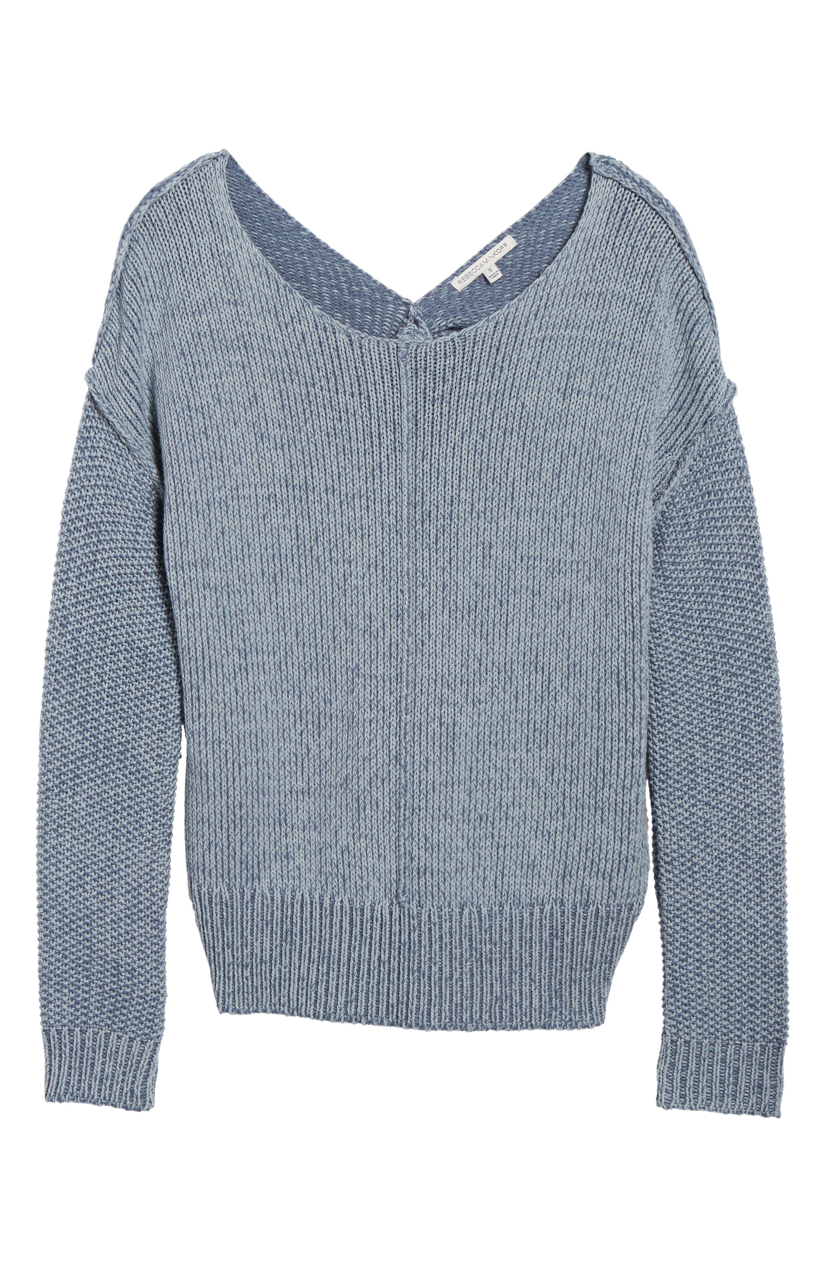 Lola Reversible Twist Sweater,                             Alternate thumbnail 6, color,                             Light Blue