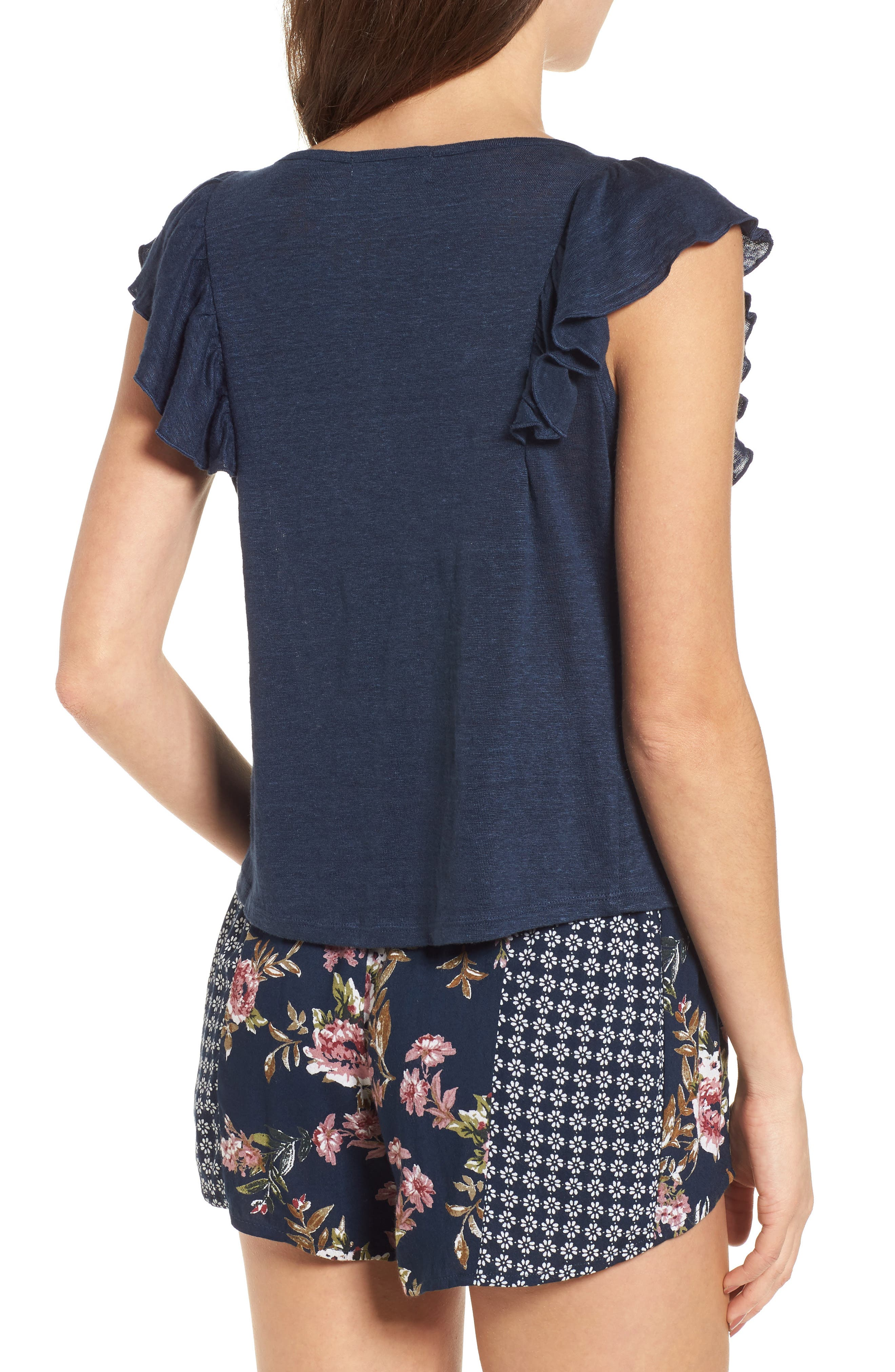 Ruffle Trim Lace Up Linen Top,                             Alternate thumbnail 2, color,                             Navy