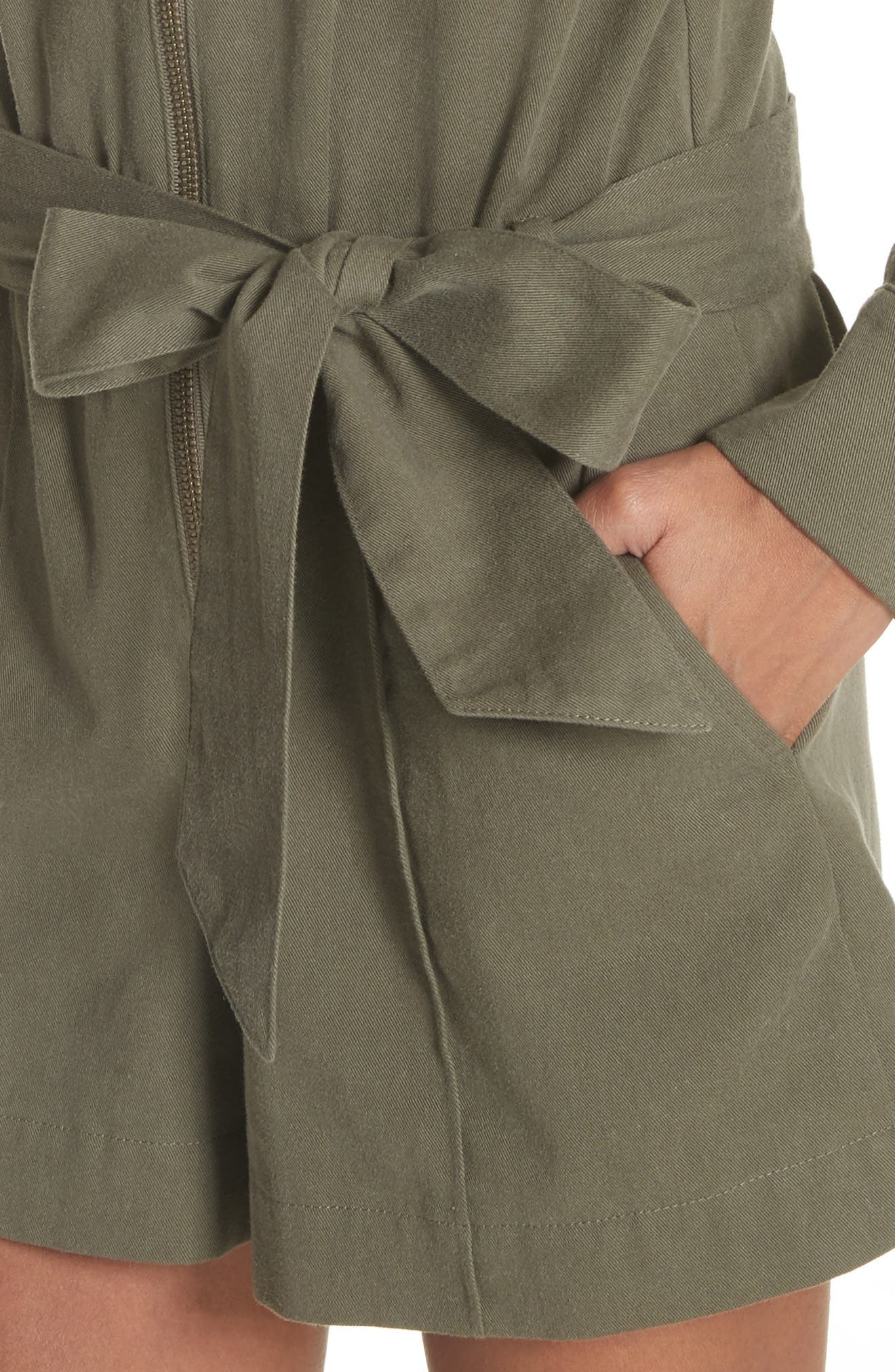 Raquel Cotton Romper,                             Alternate thumbnail 4, color,                             Army Green