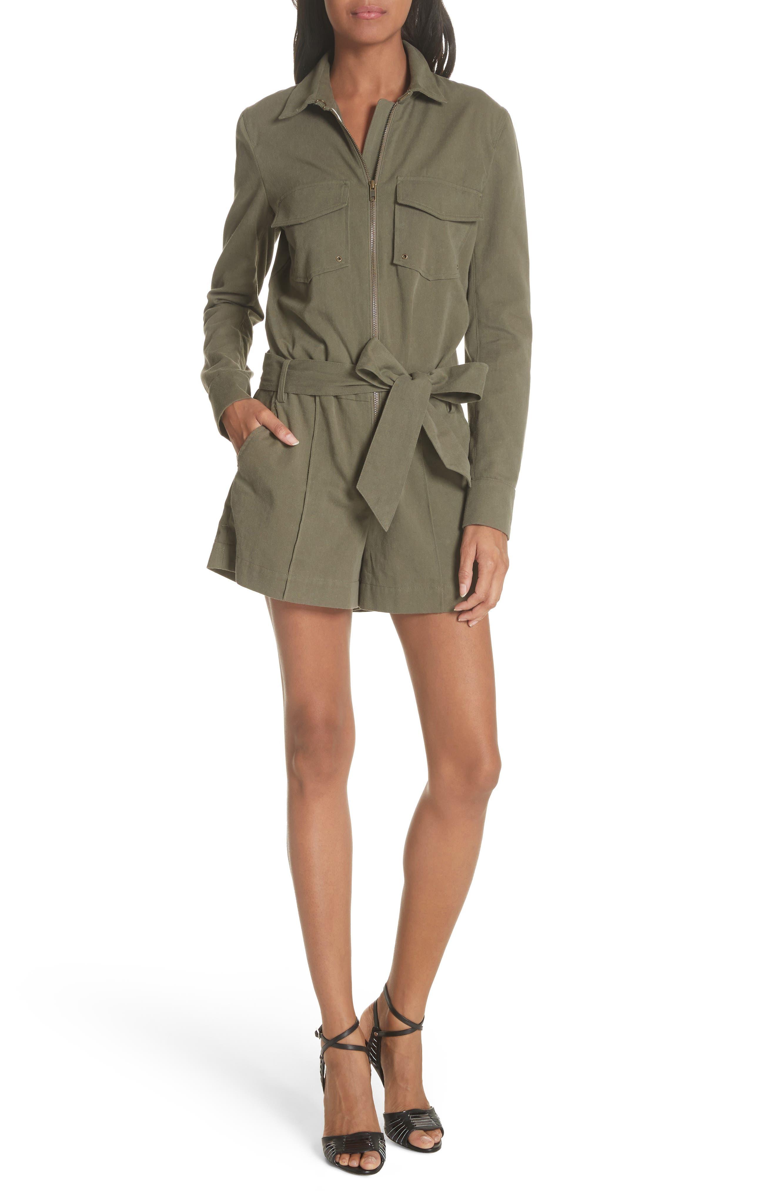 Raquel Cotton Romper,                         Main,                         color, Army Green