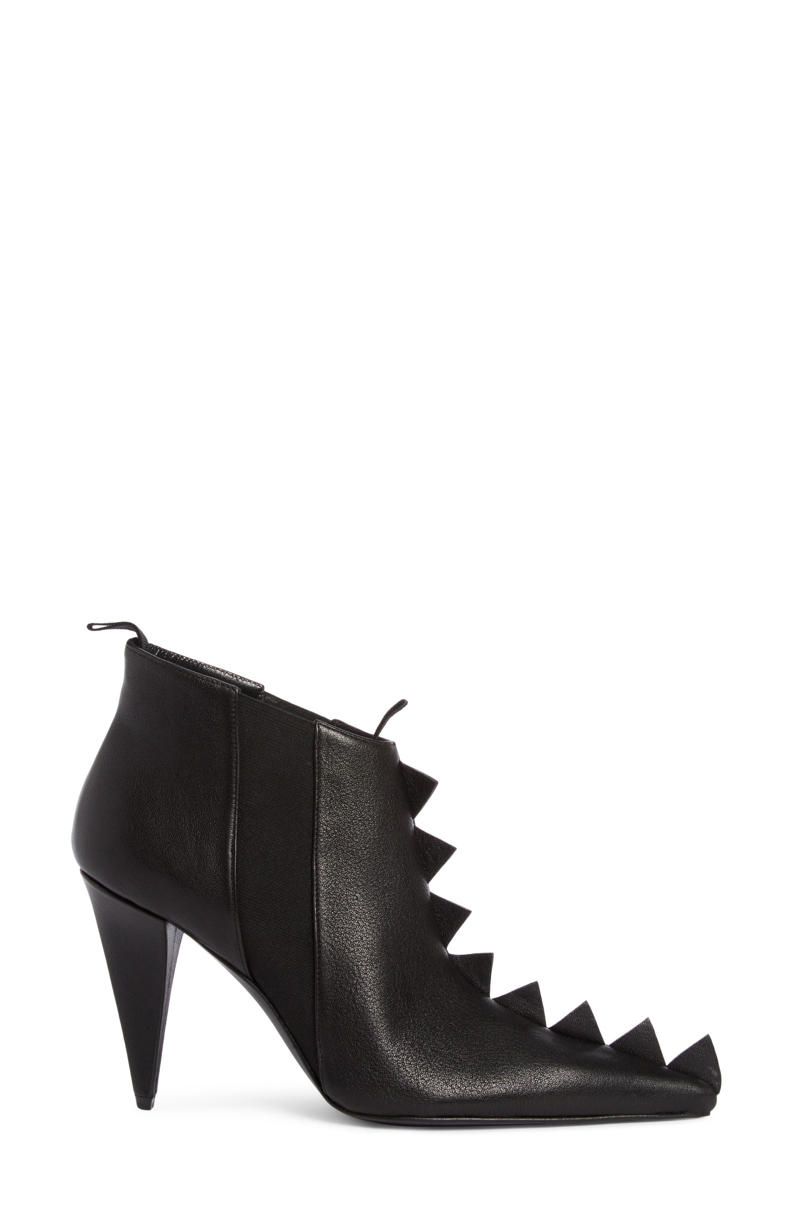 Geo Trim Pointy Toe Boot,                             Alternate thumbnail 3, color,                             Black