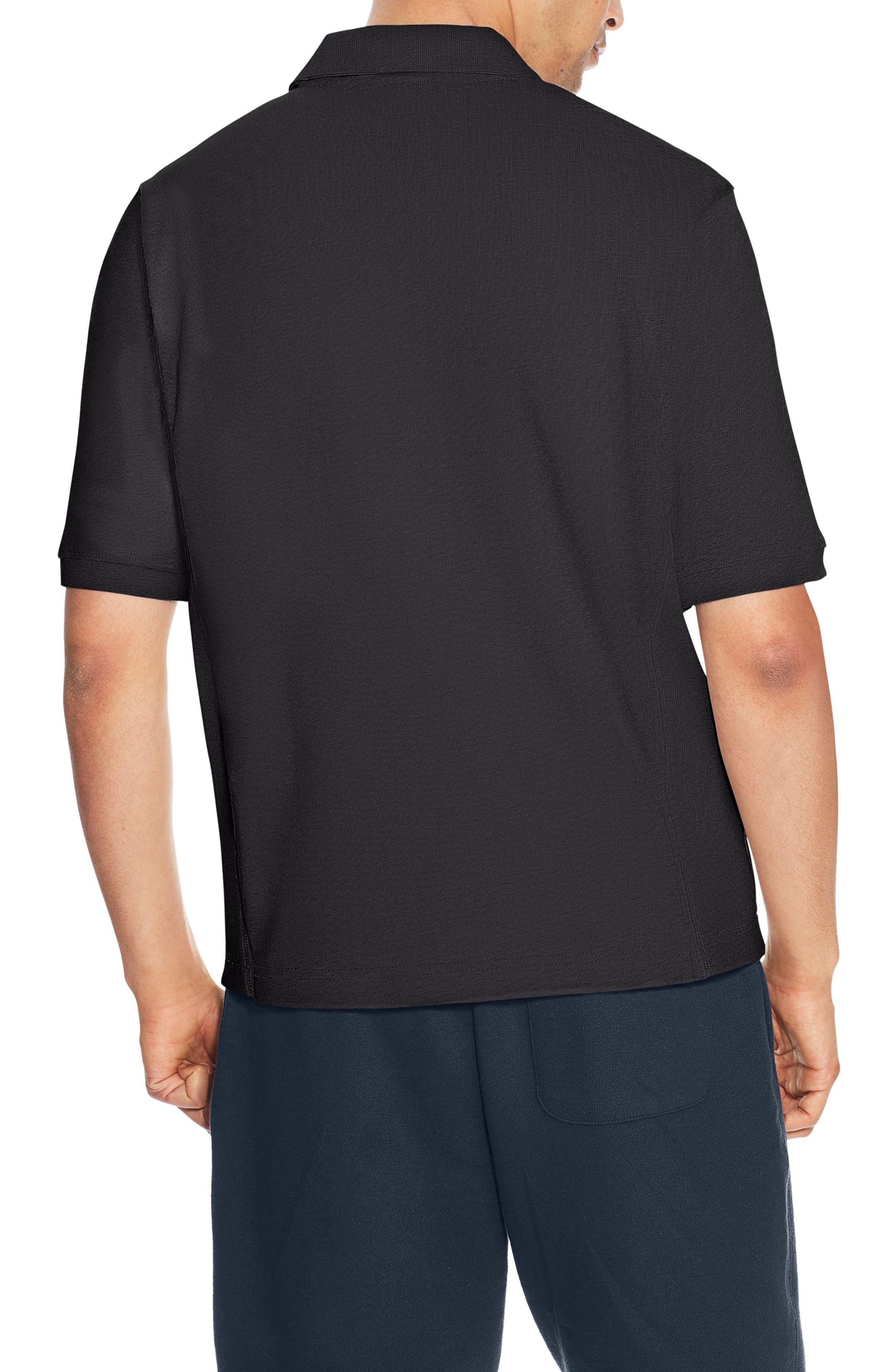 Reverse Weave Polo Shirt,                             Alternate thumbnail 2, color,                             Black