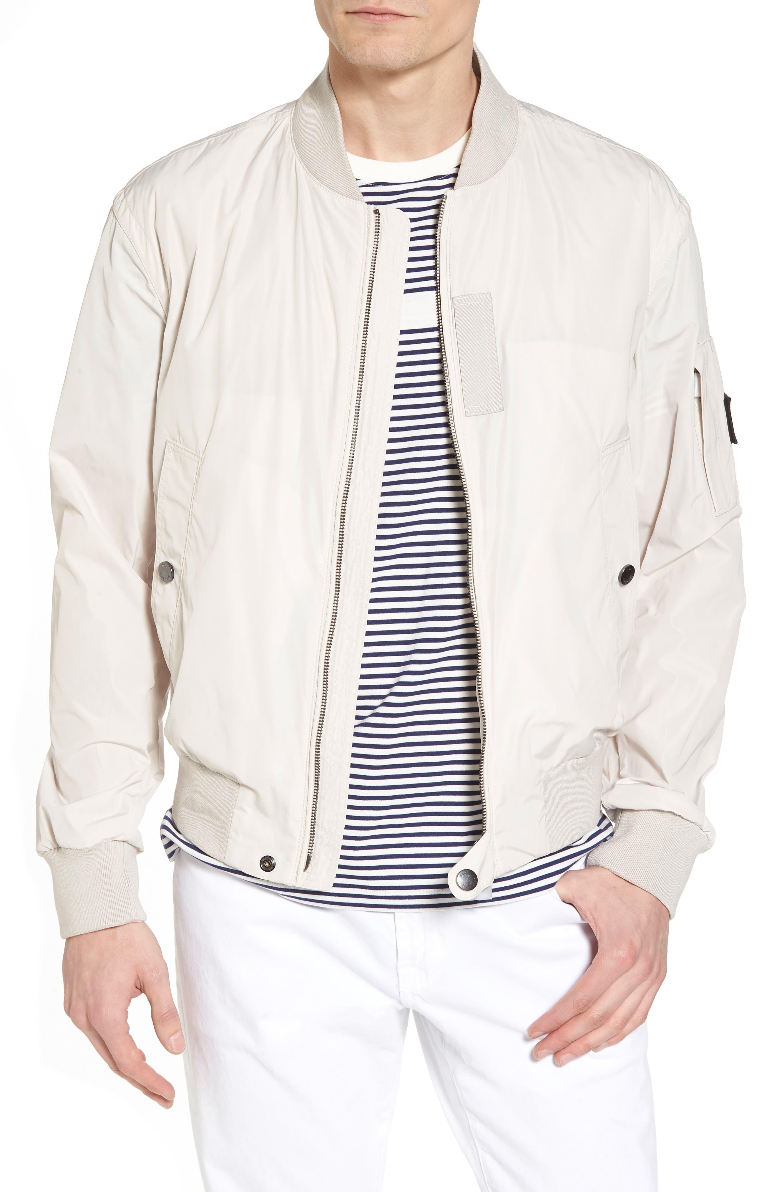 Regular Fit Bomber Jacket,                         Main,                         color, White