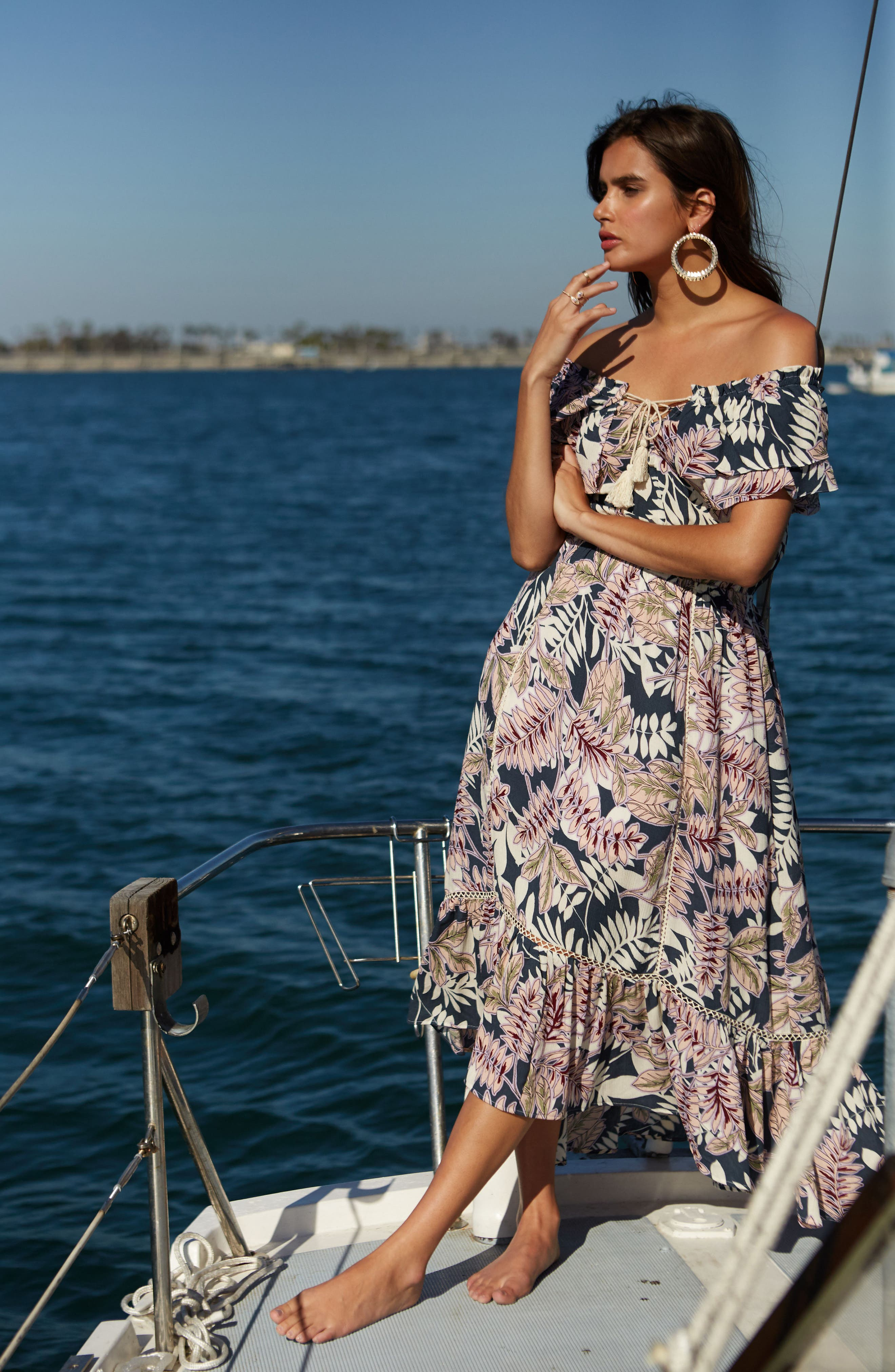 Alternate Image 7  - Lost + Wander Maui Off the Shoulder High/Low Maxi Dress