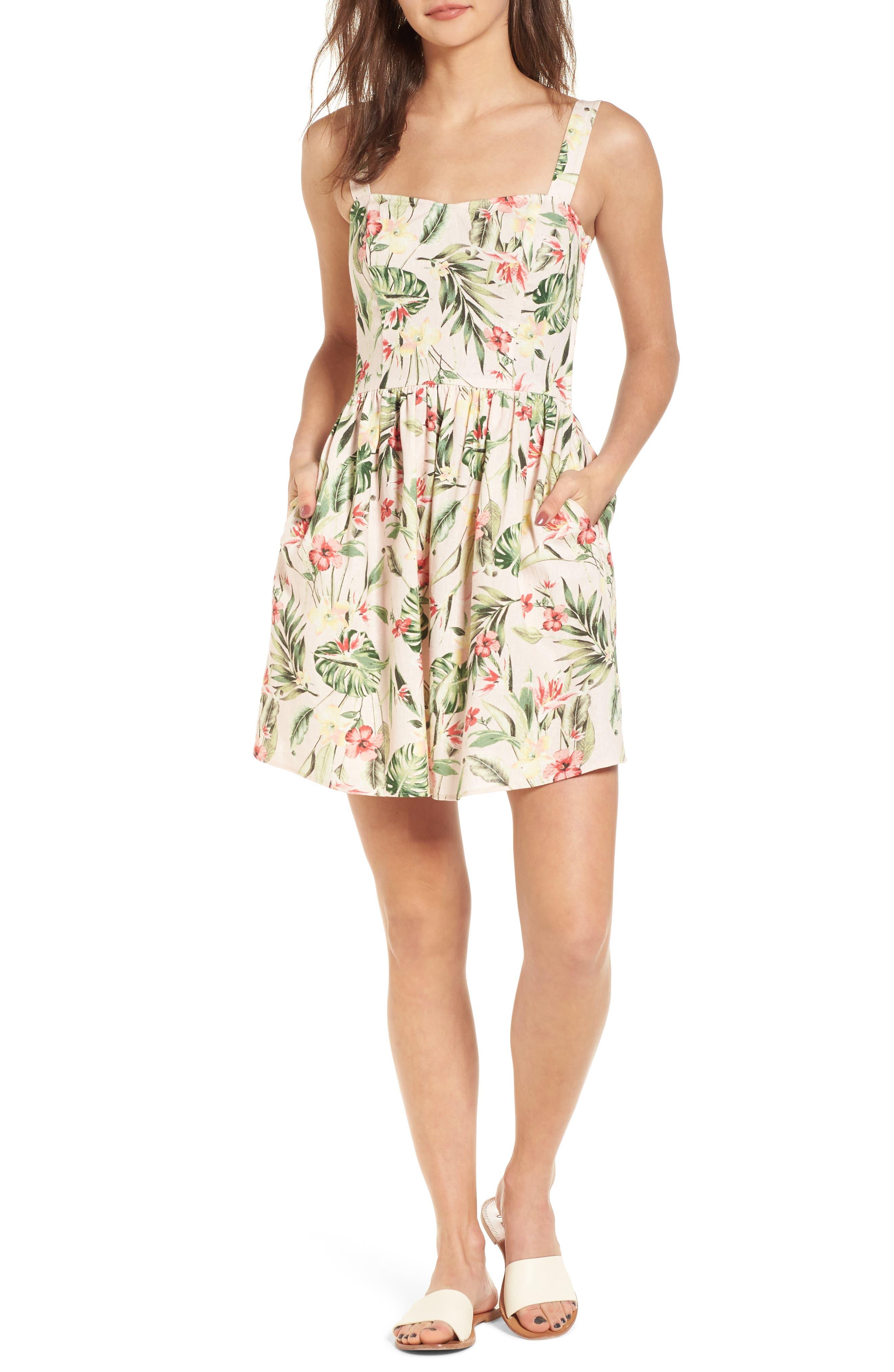 Tropical Lace Back Minidress,                         Main,                         color, Blush/ Green