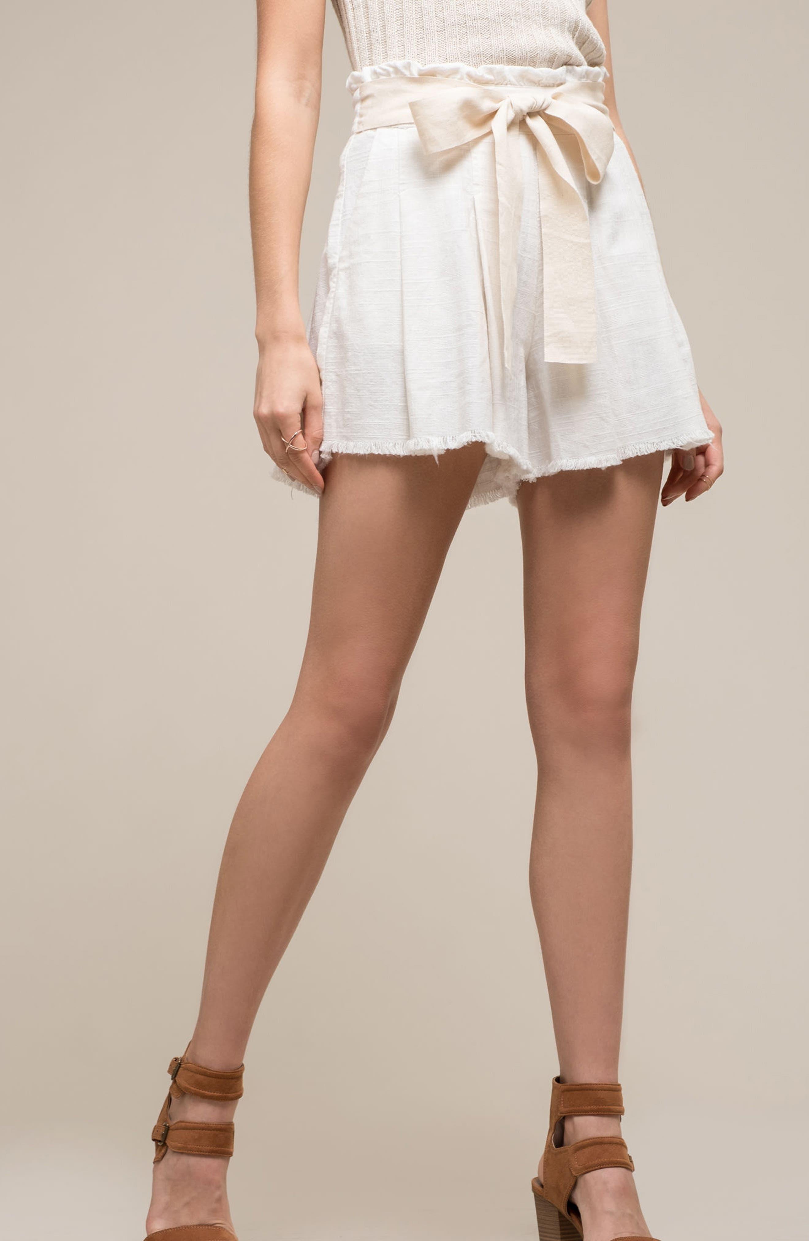 Raw Hem Paper Bag Waist Shorts,                             Alternate thumbnail 2, color,                             White