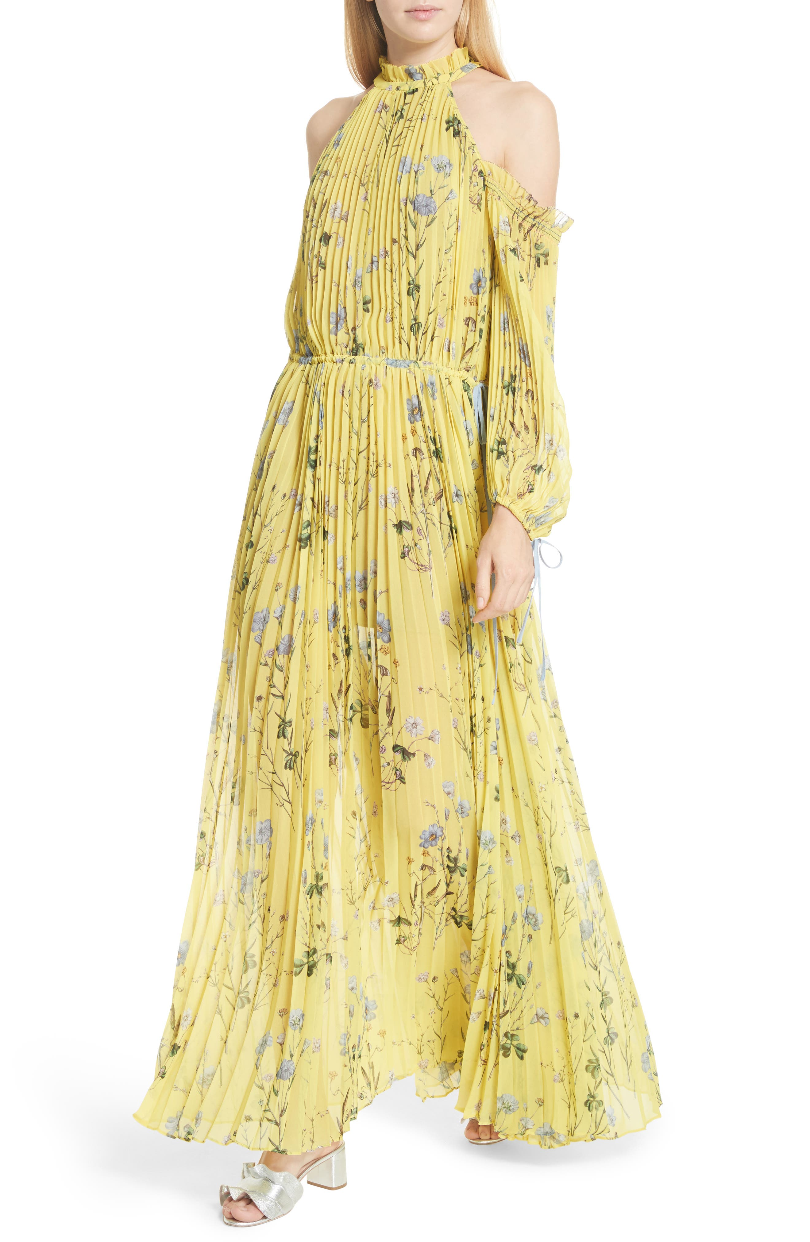 Floral Pleated Cold Shoulder Maxi Dress,                             Alternate thumbnail 4, color,                             Yellow