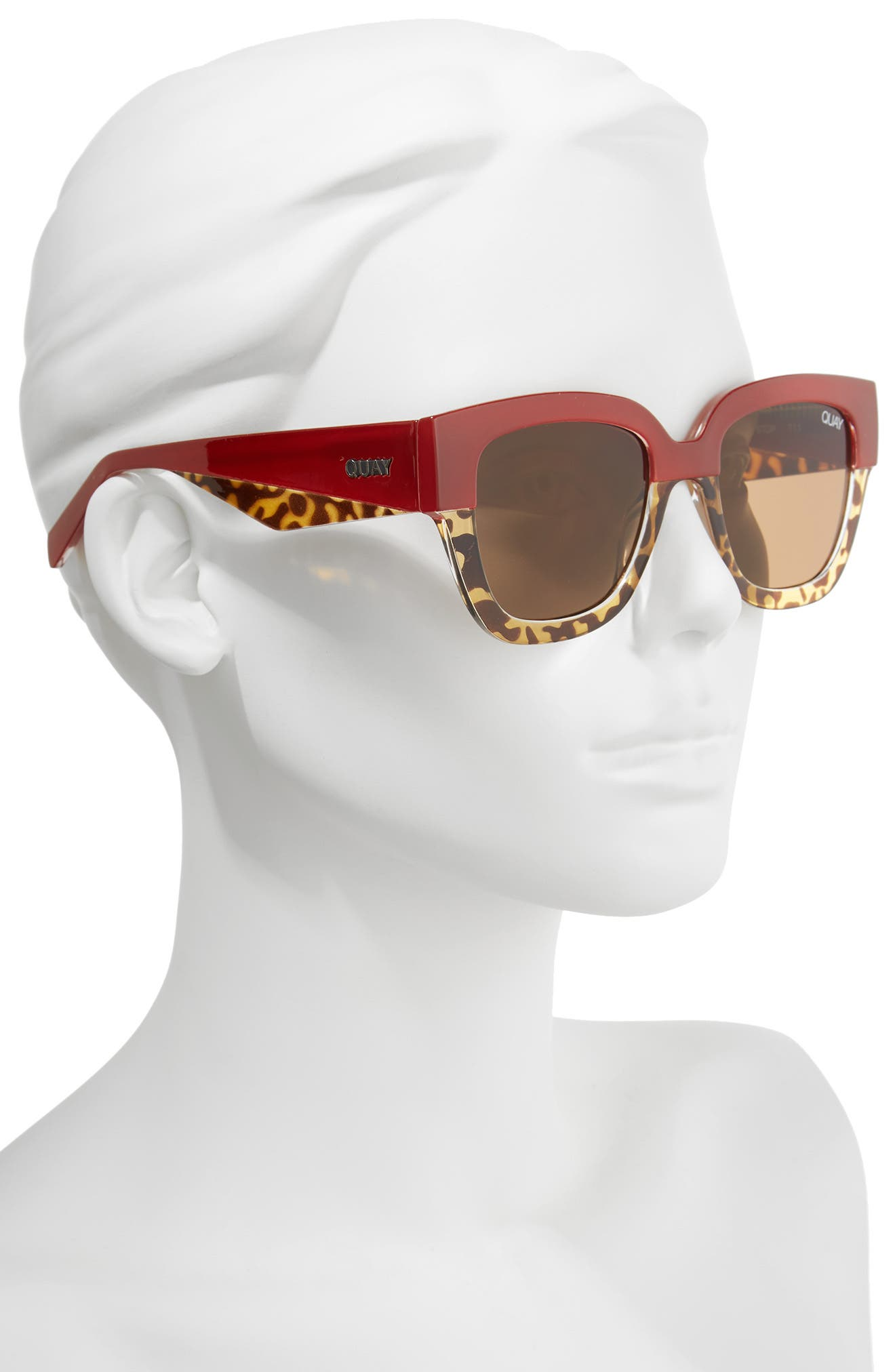 55mm Don't Stop Sunglasses,                             Alternate thumbnail 5, color,                             Red/ Tort/ Brown