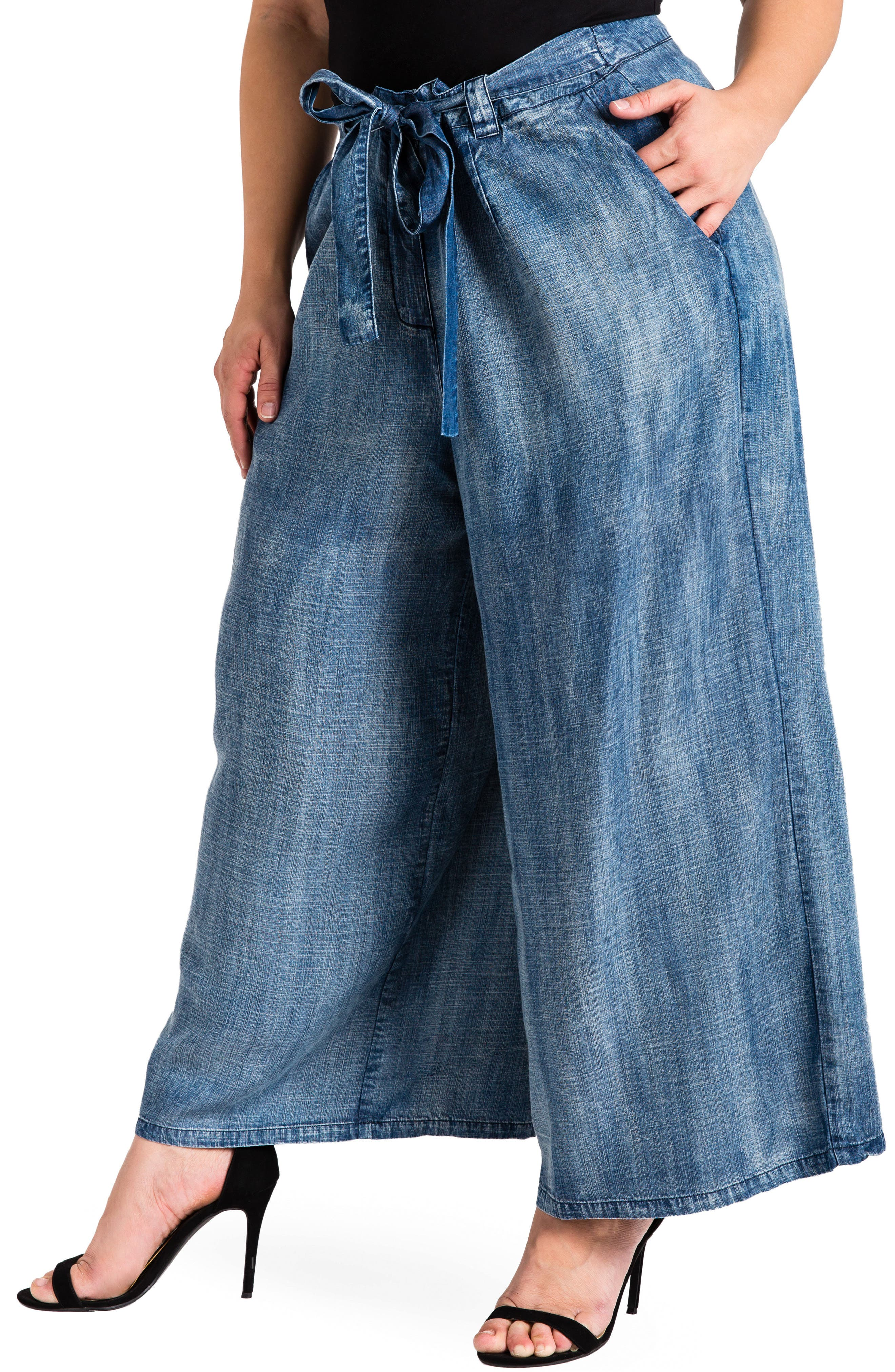 Sophi Crop Wide Leg Pants,                             Main thumbnail 1, color,                             Medium Blue