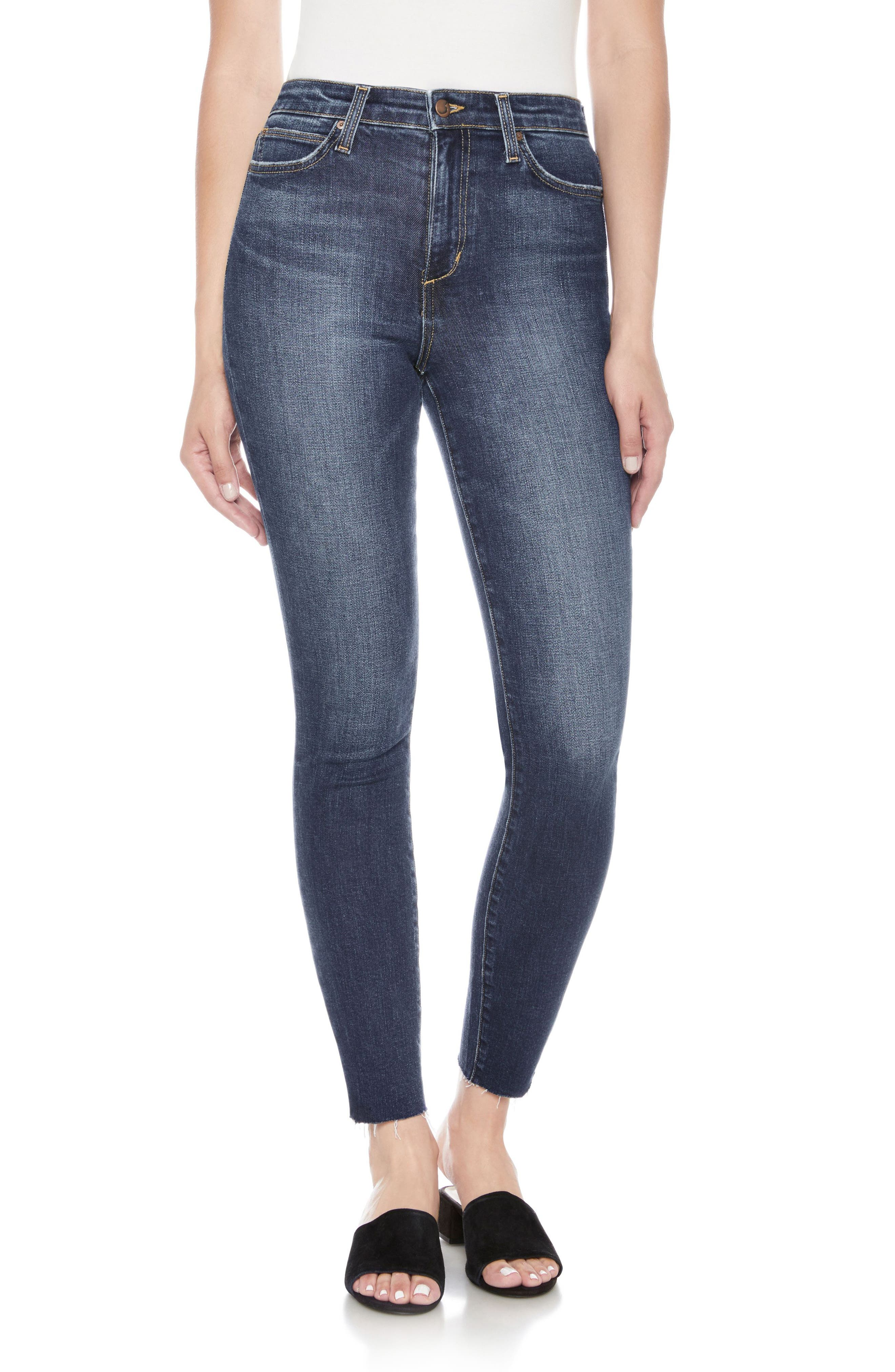Flawless - Charlie High Waist Ankle Skinny Jeans,                             Main thumbnail 1, color,                             Theodora