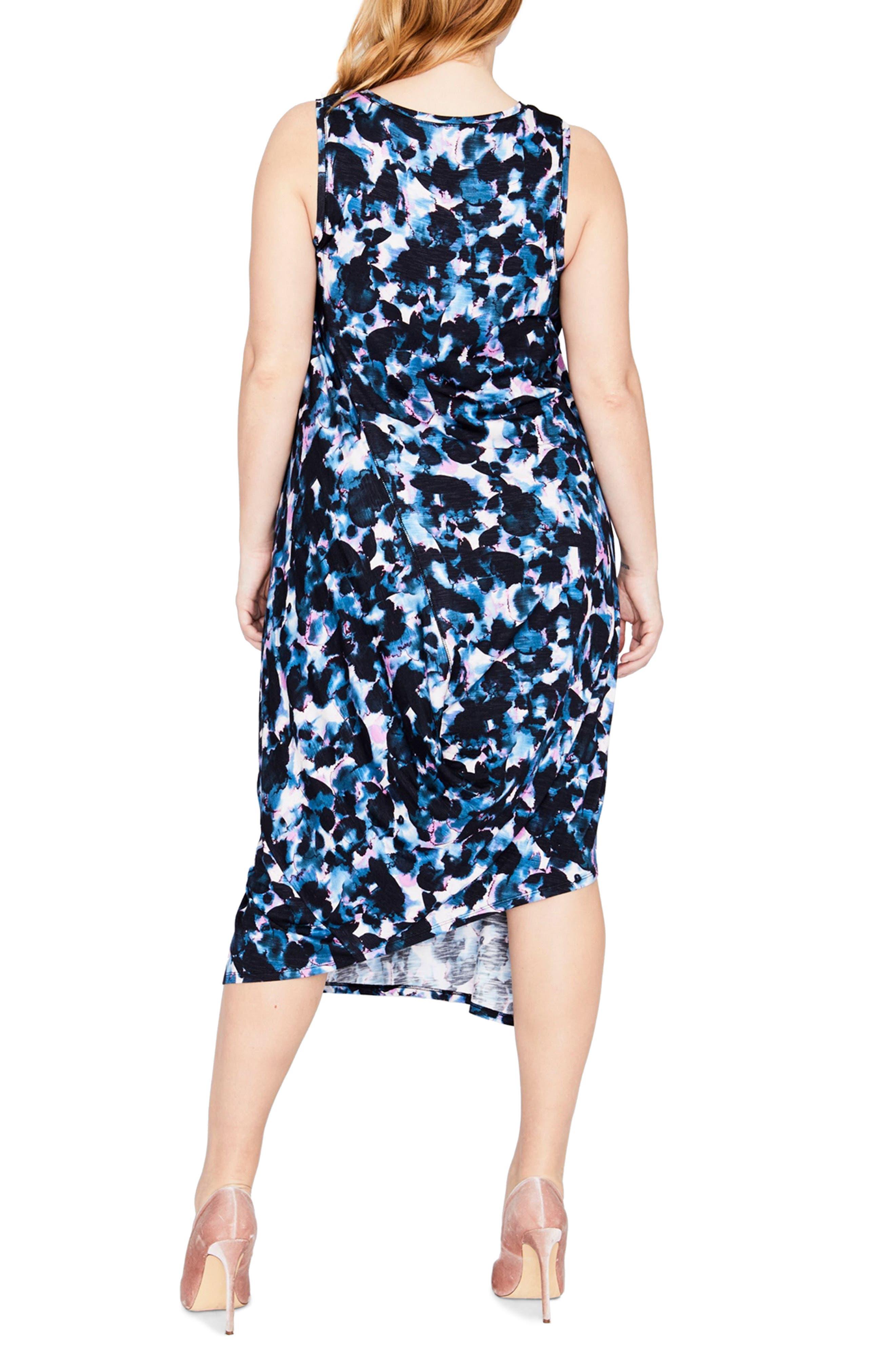Print Drape Back Midi Dress,                             Alternate thumbnail 3, color,                             True Navy Combo