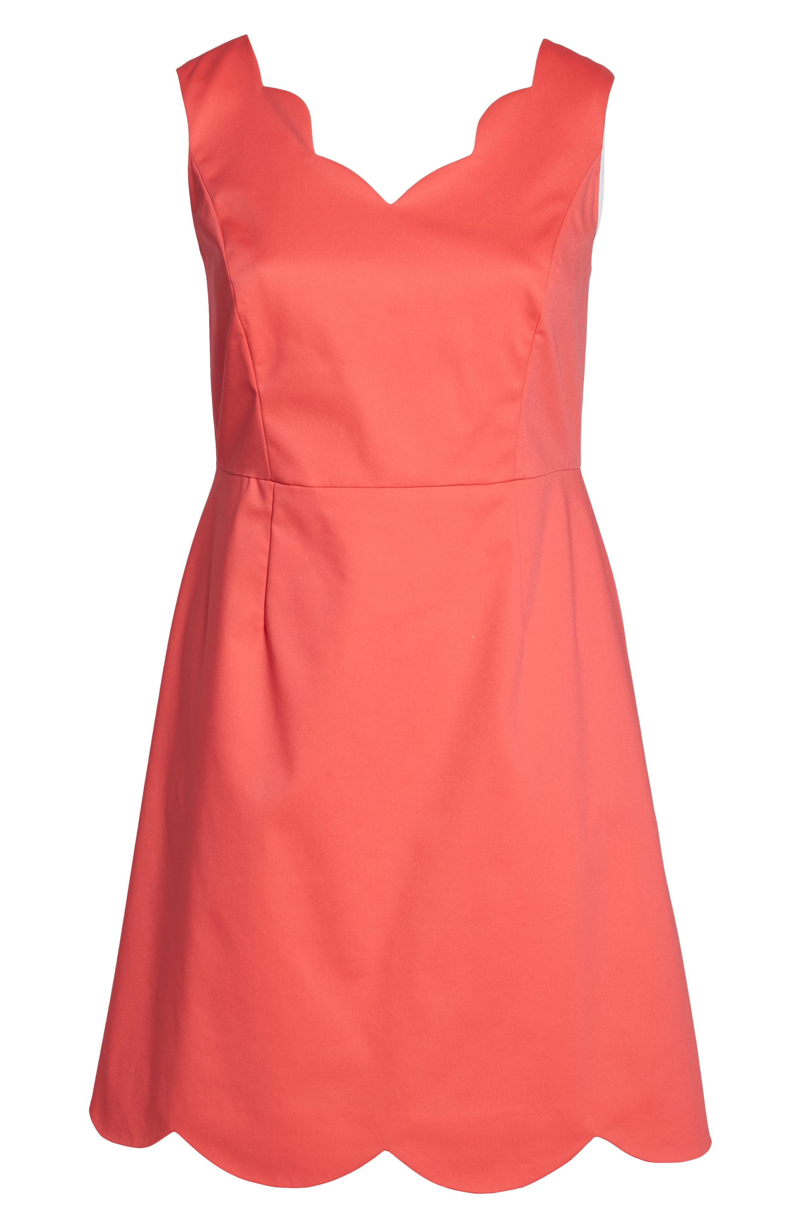 Scalloped A-Line Dress,                             Alternate thumbnail 6, color,                             Strawberry Pink