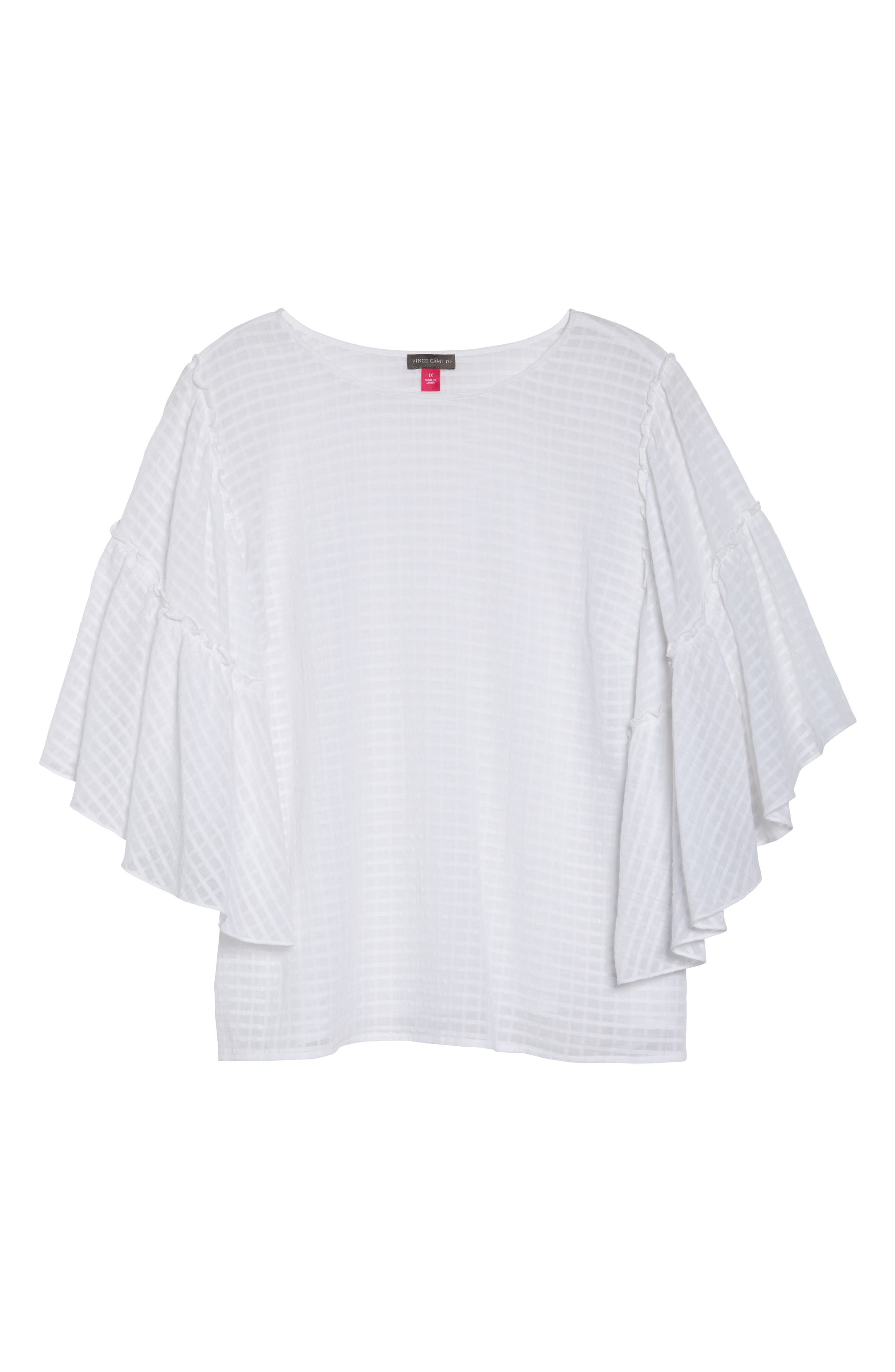 Textured Grid Ruffle Drop Shoulder Blouse,                             Alternate thumbnail 6, color,                             Ultra White