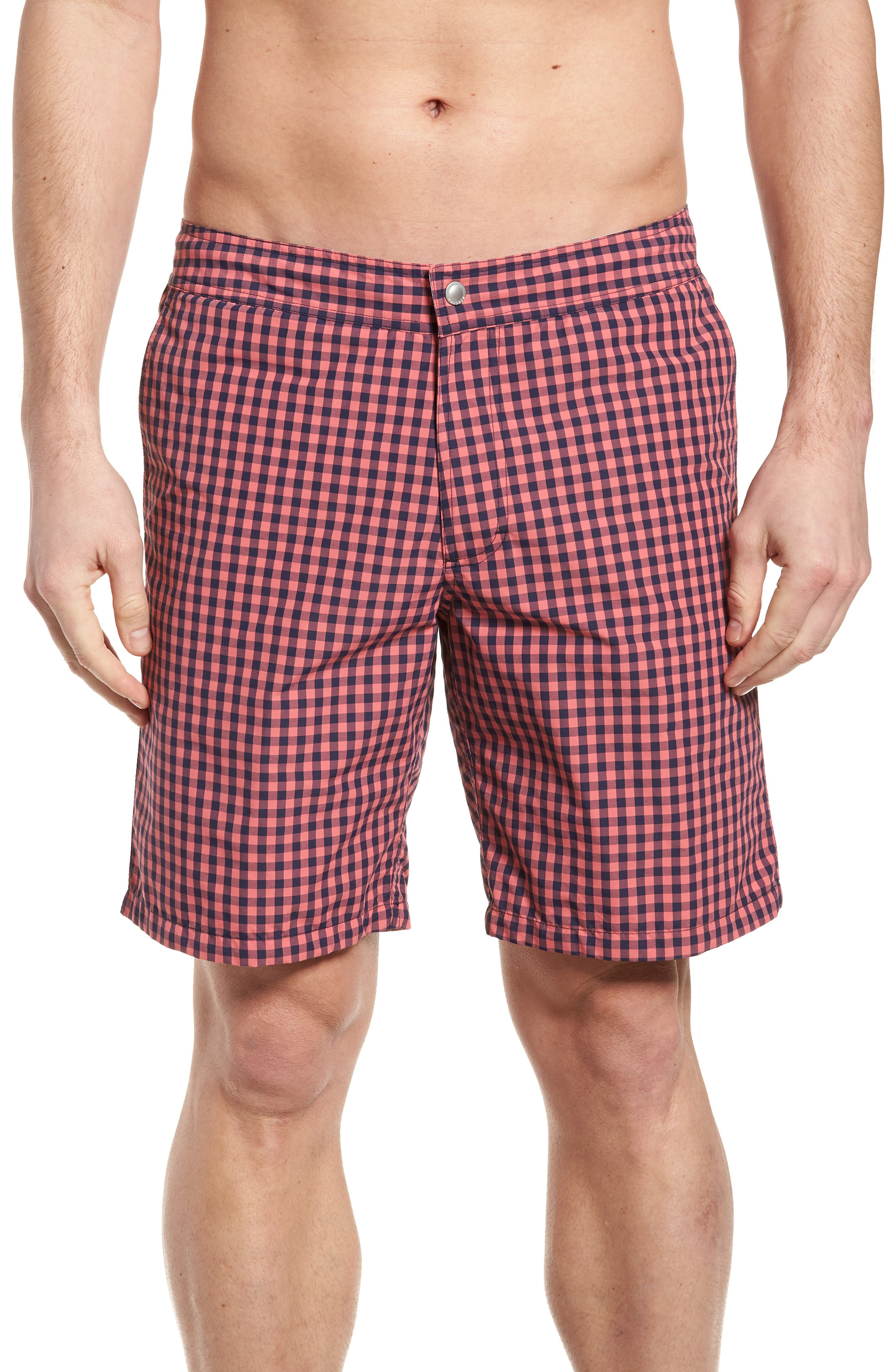 Gingham 9-Inch Swim Trunks,                             Main thumbnail 1, color,                             Gulfstream Gingham Blue/ Pink