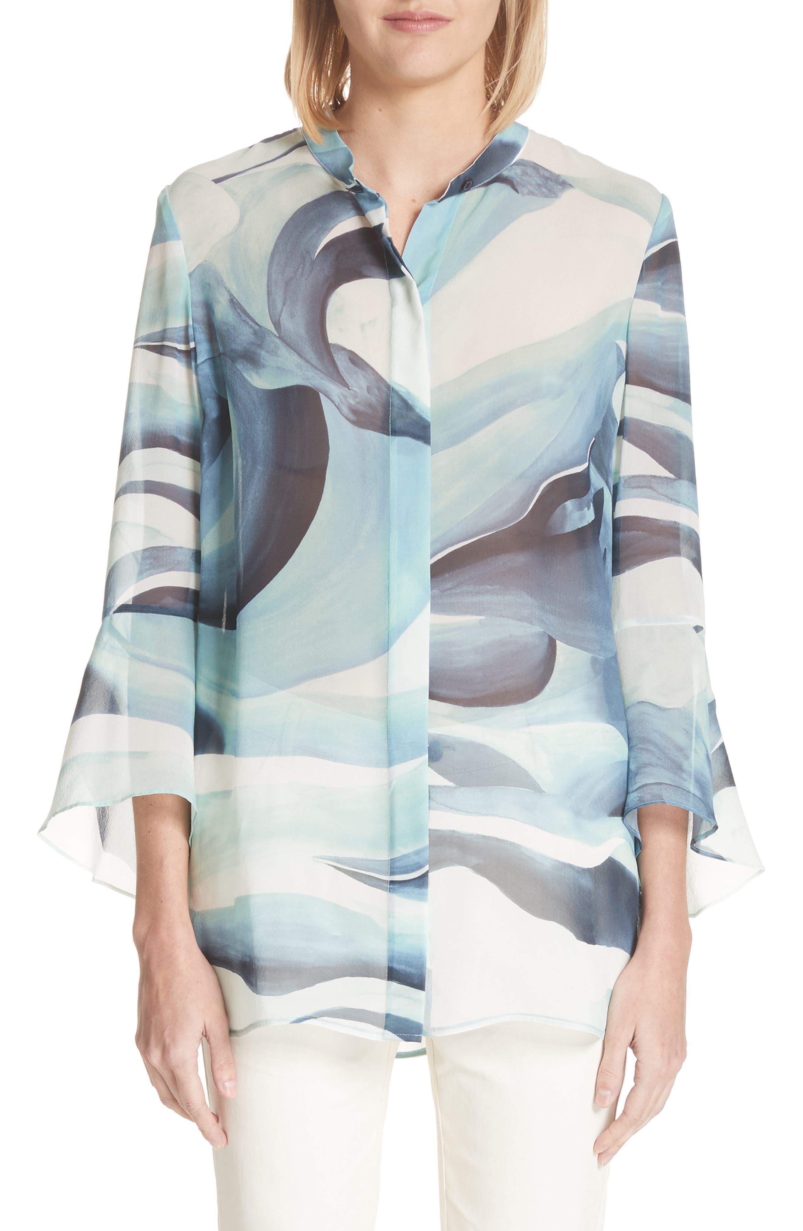 Graydon Print Silk Chiffon Blouse,                         Main,                         color, Herbal Mist Multi