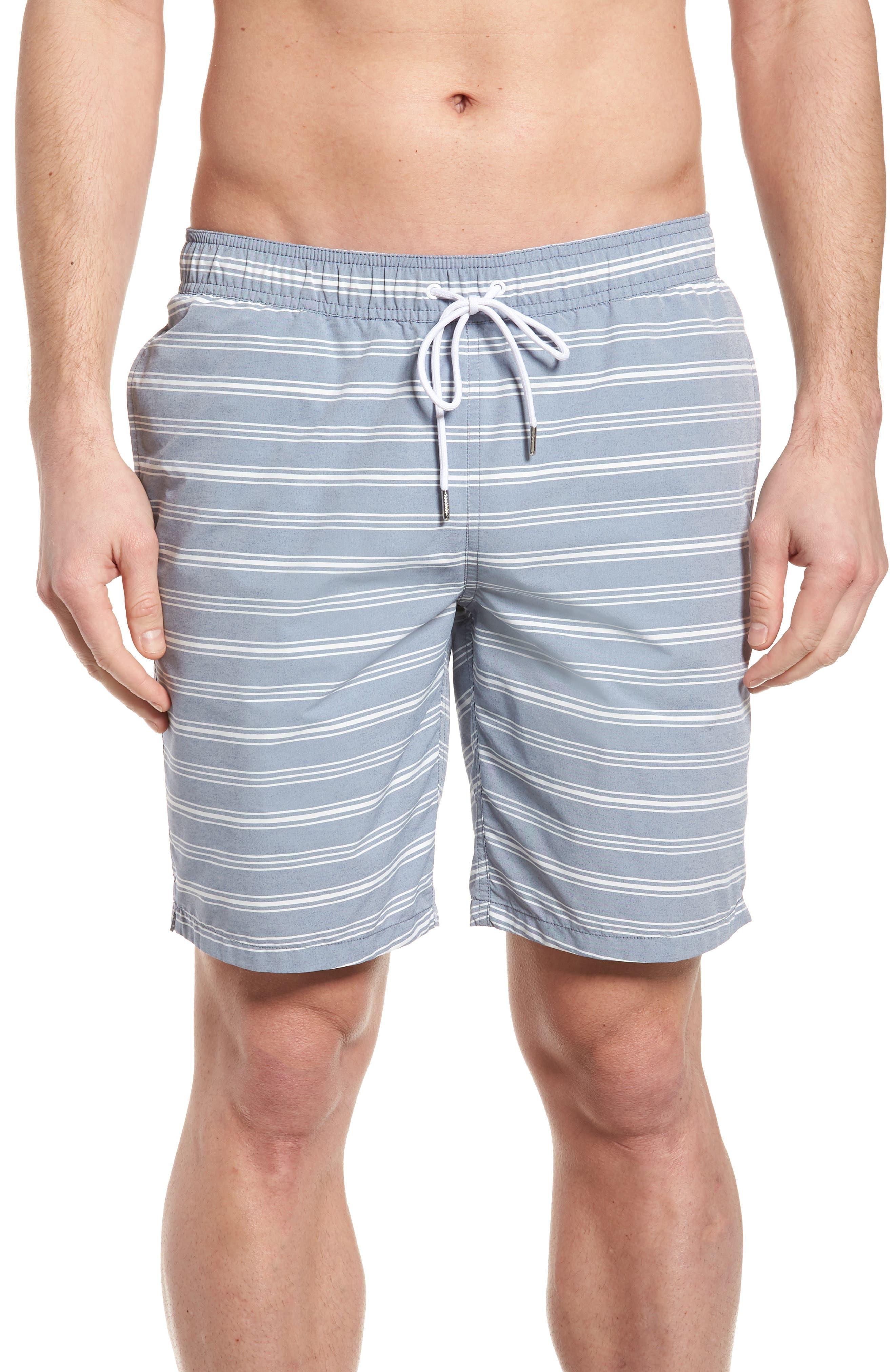 E-Waist 9-Inch Swim Trunks,                         Main,                         color, Swim Stripe Blue/ White