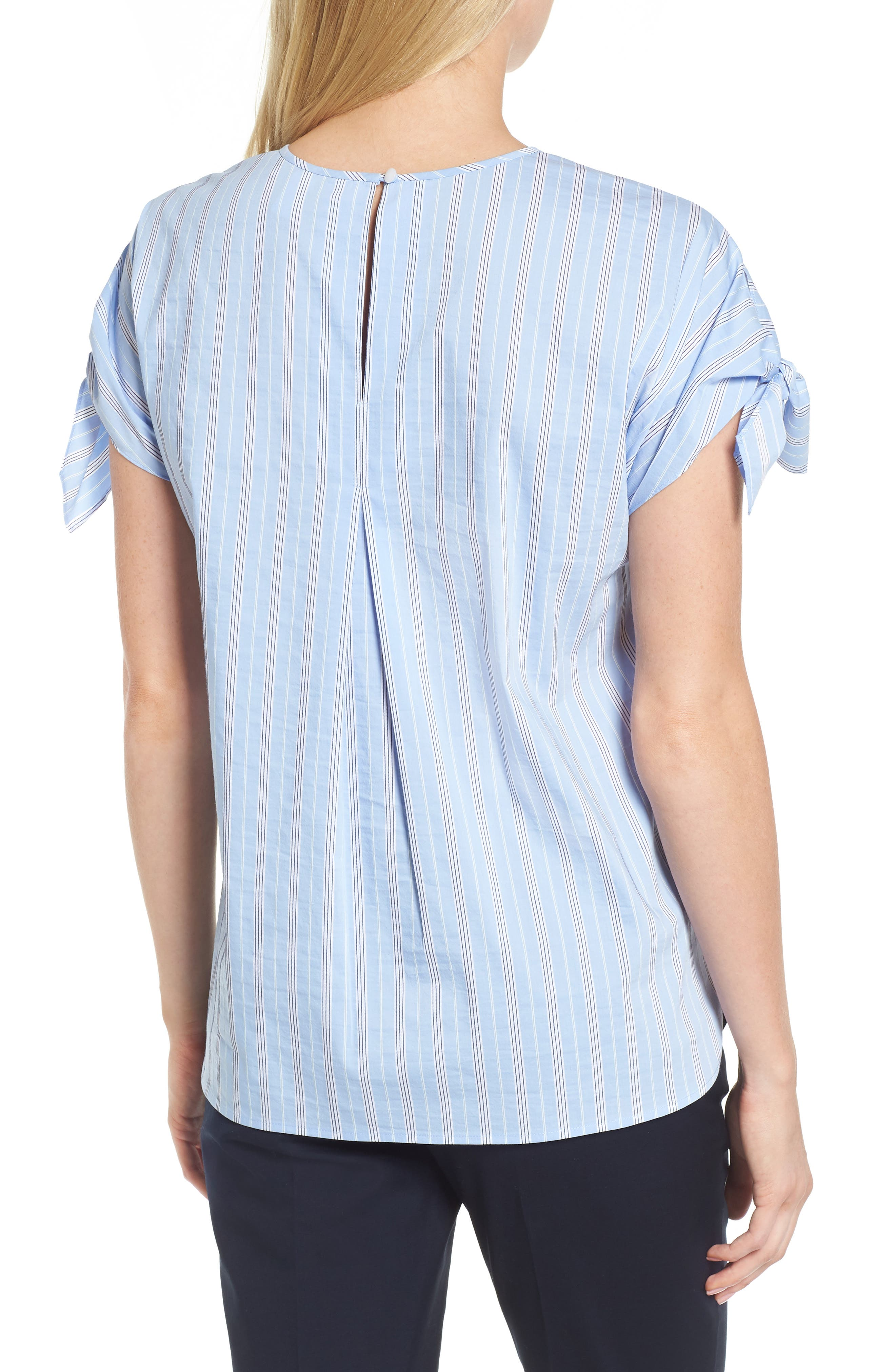 Tie Sleeve Stripe Top,                             Alternate thumbnail 2, color,                             Blue Vista Stripe