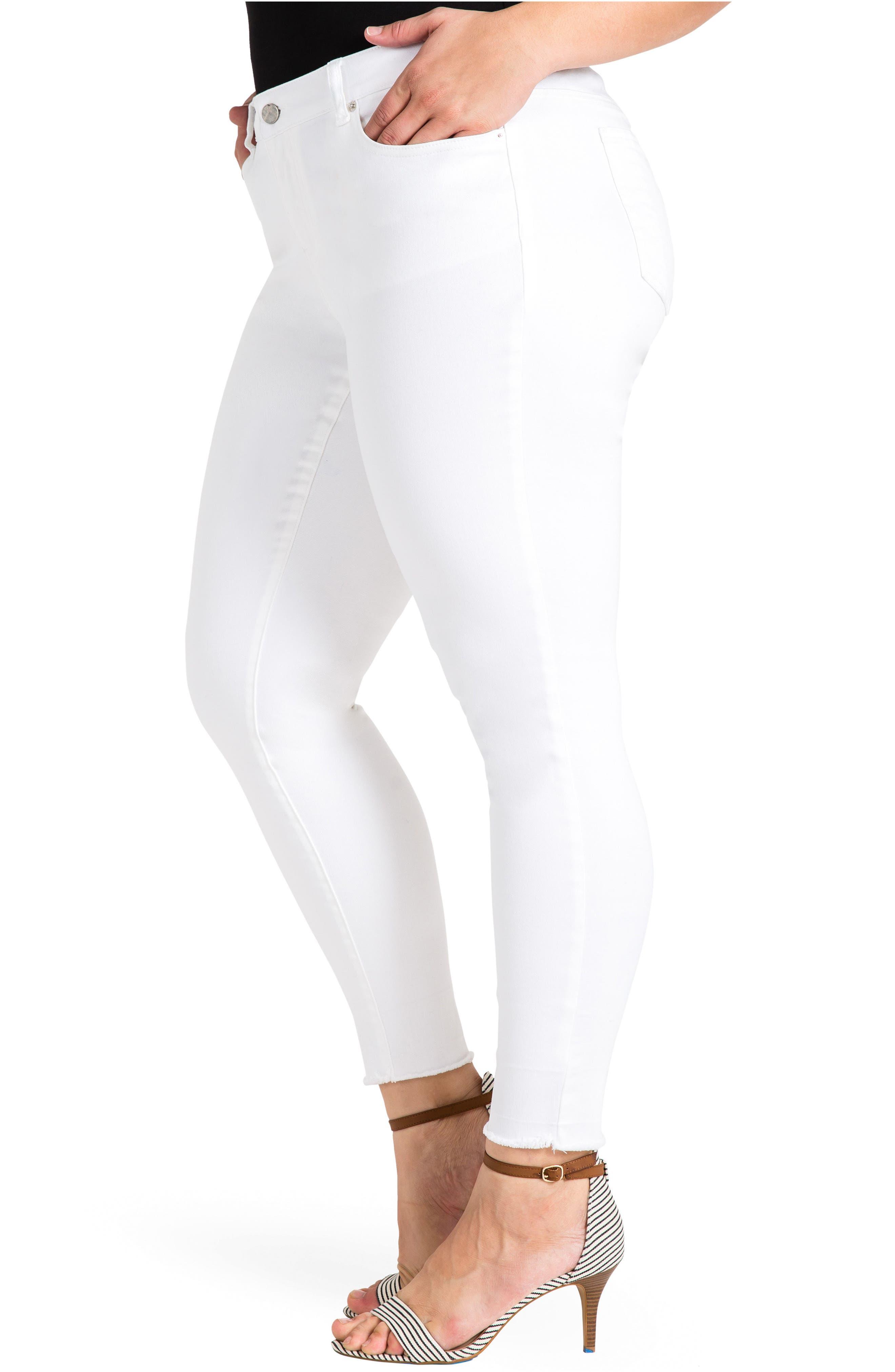 Virginia Ankle Skinny Jeans,                             Alternate thumbnail 3, color,                             3087Powderwt - White