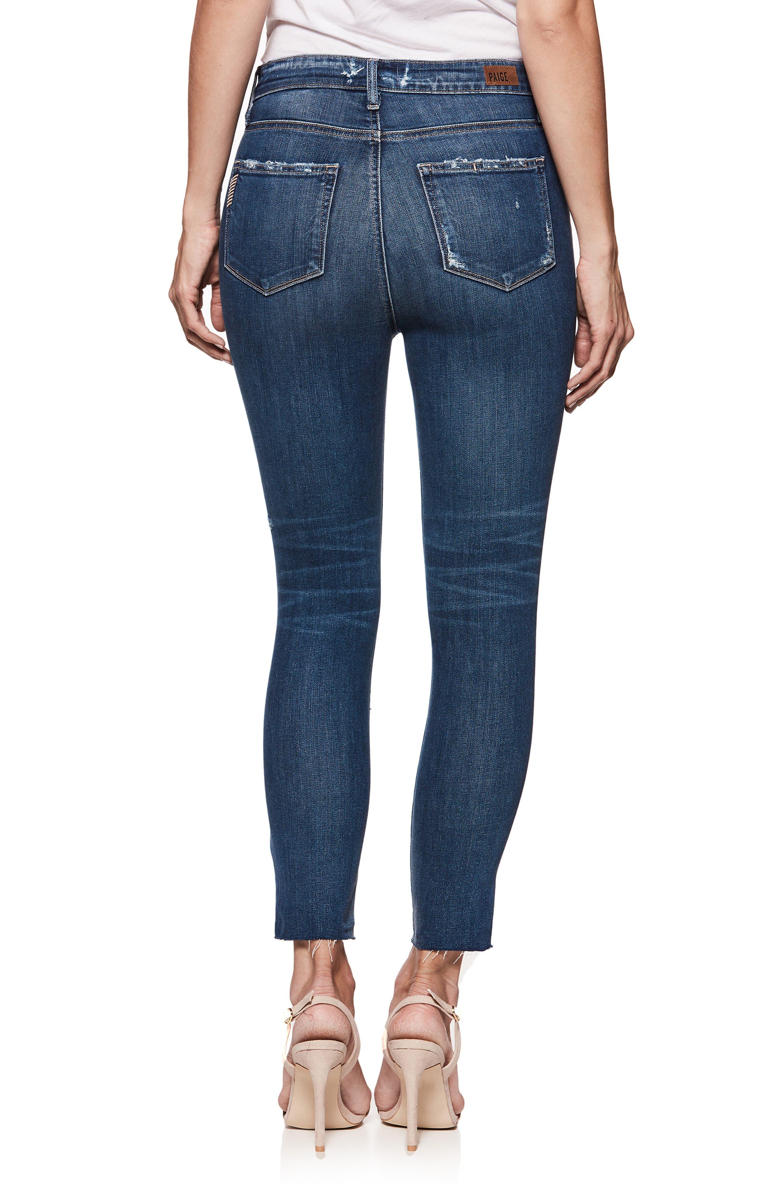 Transcend Vintage - Margot High Waist Crop Skinny Jeans,                             Alternate thumbnail 3, color,                             Cliffs Edge Destructed