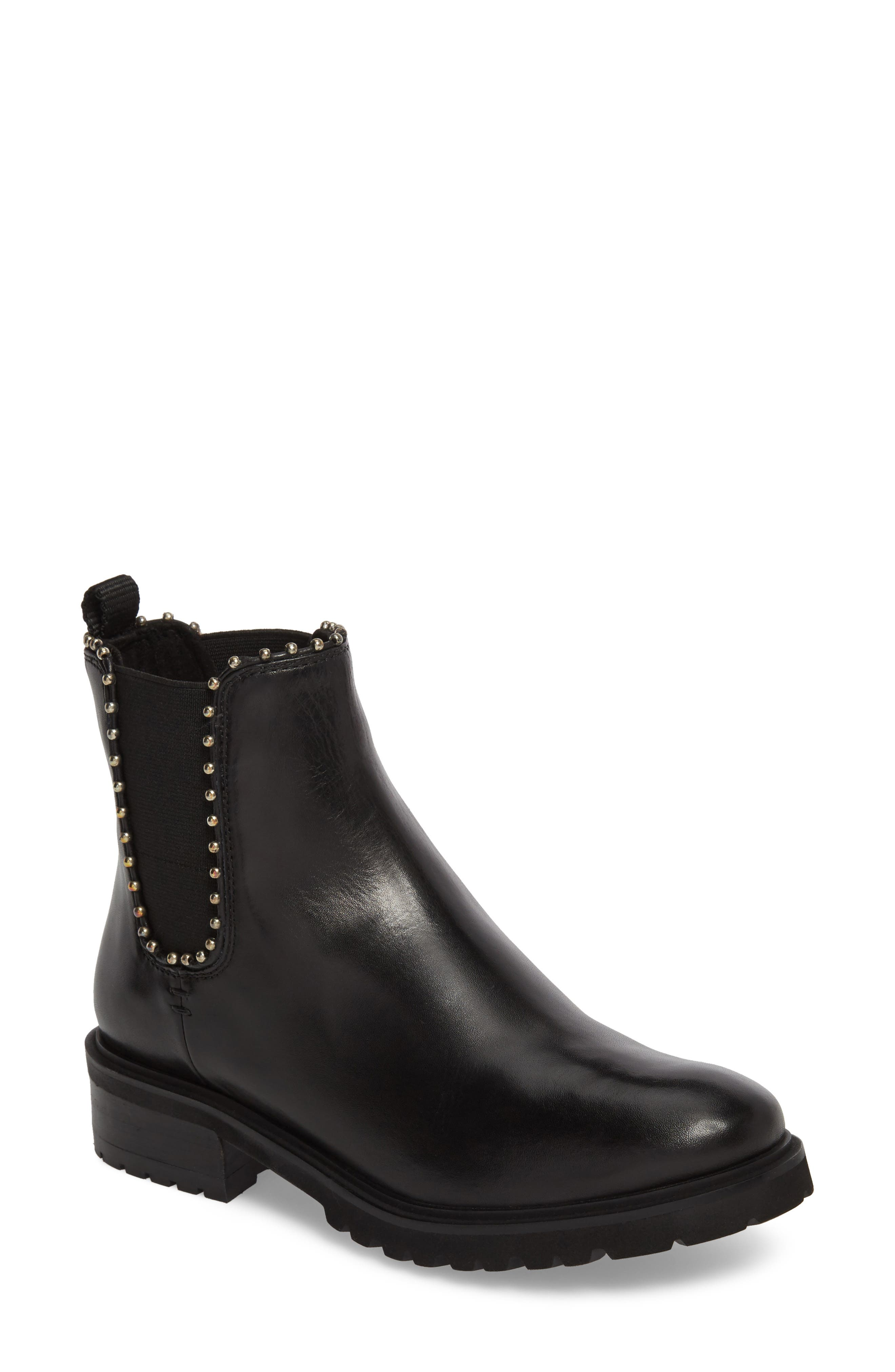 Berkley Chelsea Bootie,                             Main thumbnail 1, color,                             Black Leather