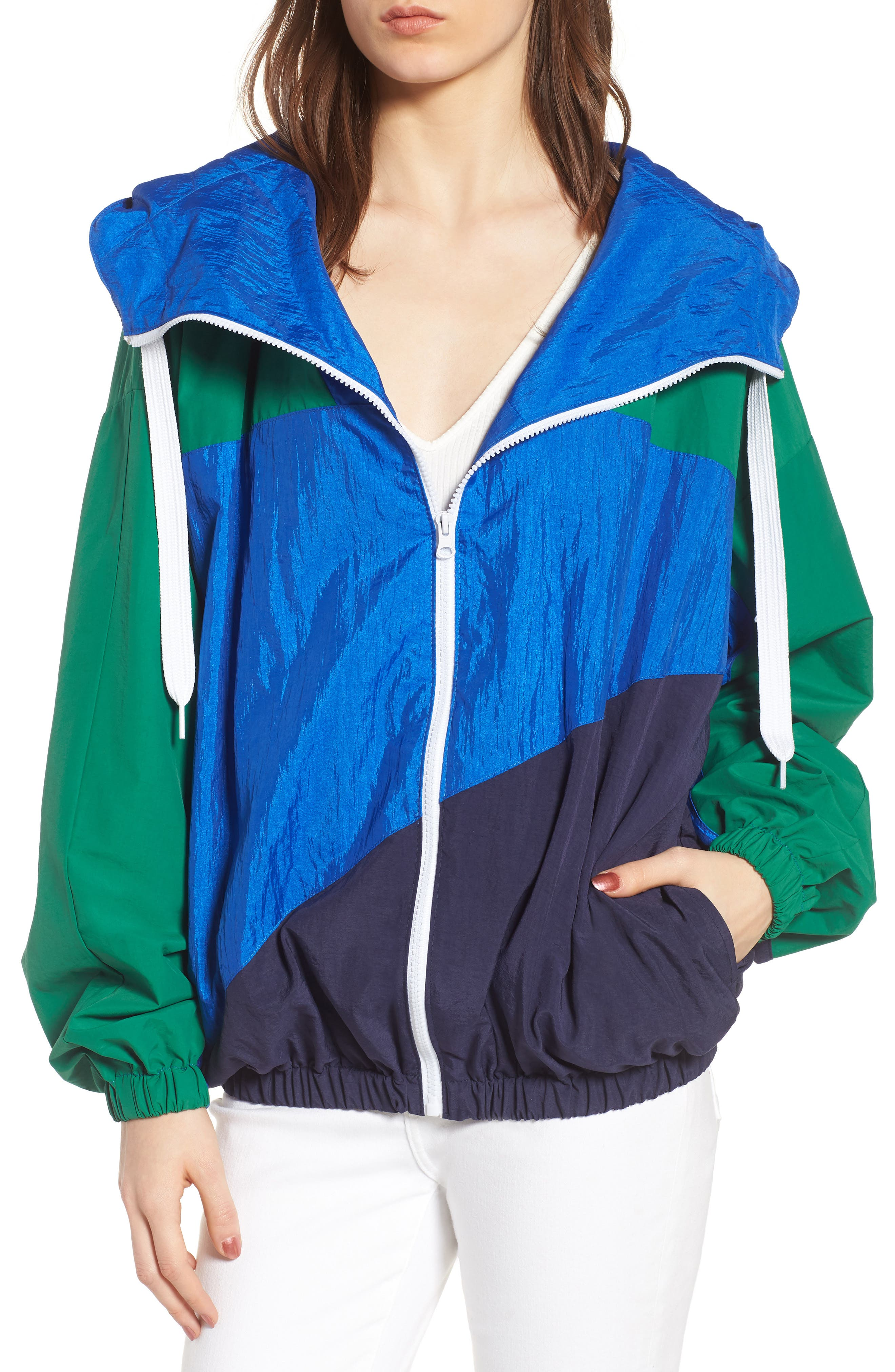 Colorblock Windbreaker Jacket,                             Alternate thumbnail 2, color,                             Green/ Blue